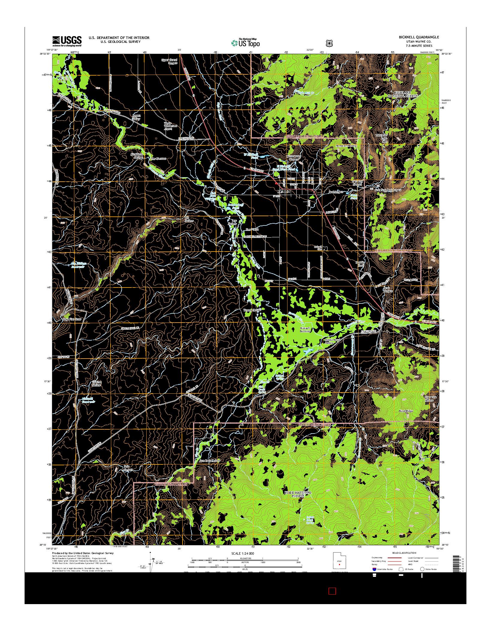 USGS US TOPO 7.5-MINUTE MAP FOR BICKNELL, UT 2014