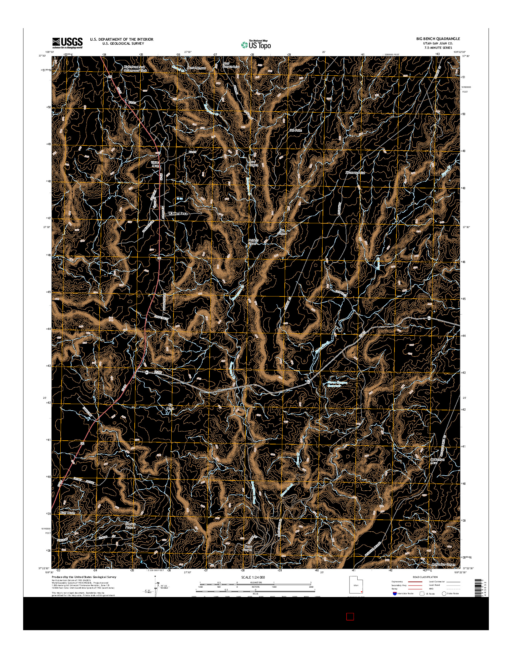 USGS US TOPO 7.5-MINUTE MAP FOR BIG BENCH, UT 2014