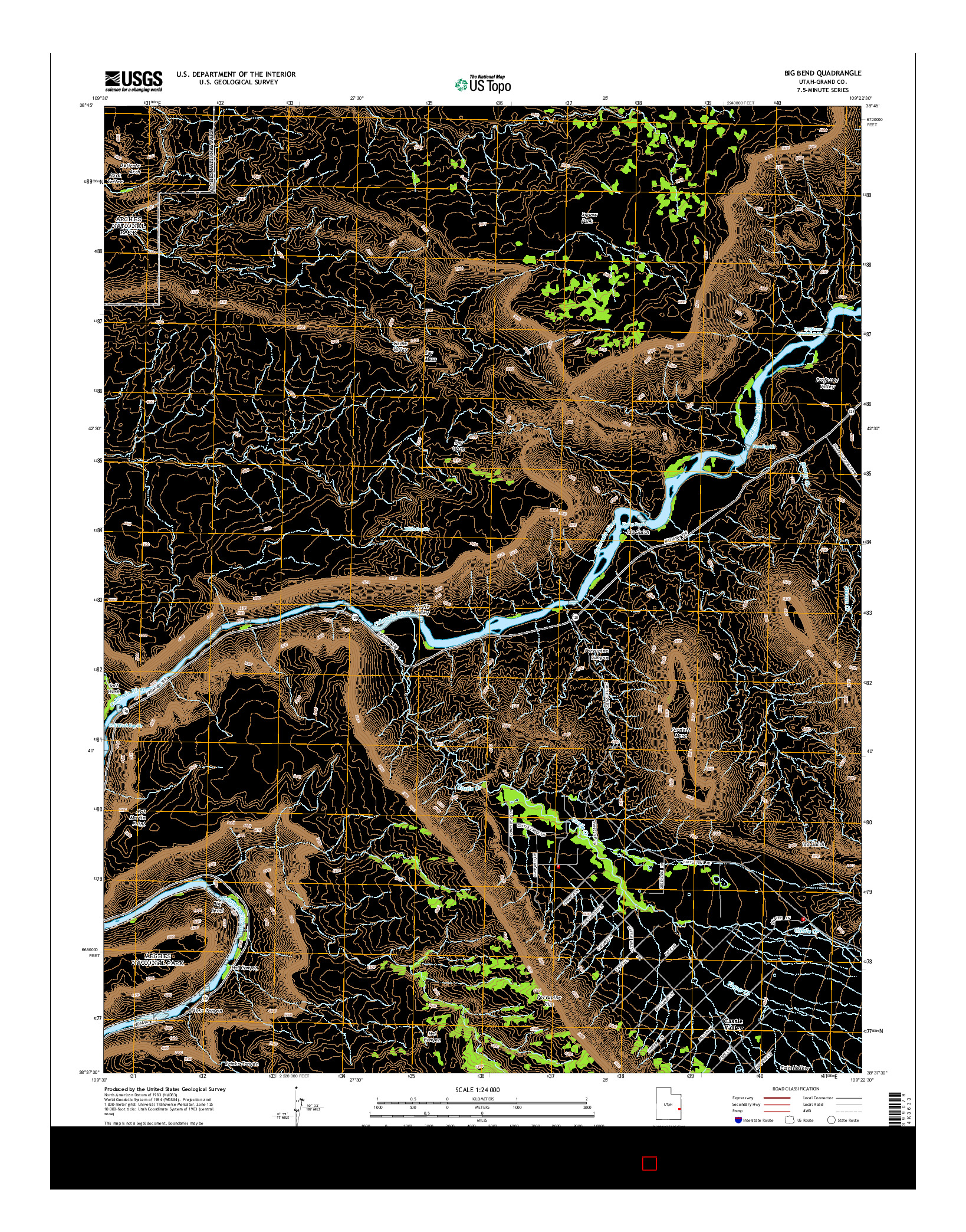 USGS US TOPO 7.5-MINUTE MAP FOR BIG BEND, UT 2014