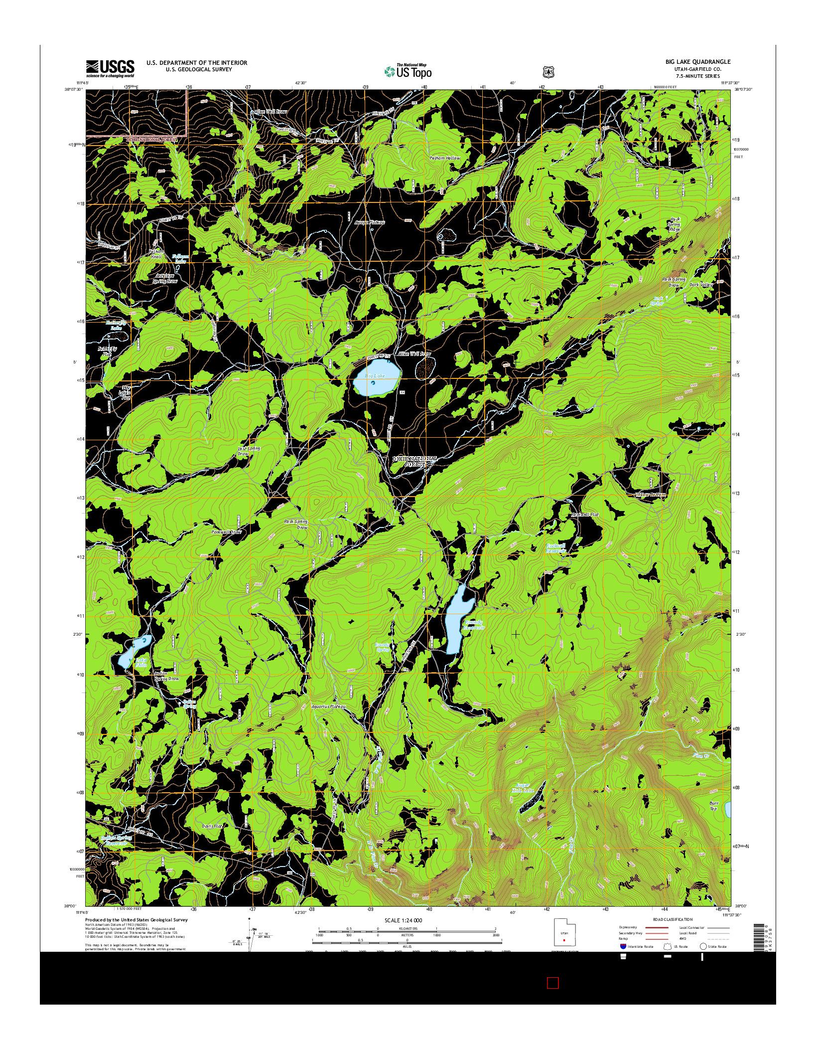 USGS US TOPO 7.5-MINUTE MAP FOR BIG LAKE, UT 2014