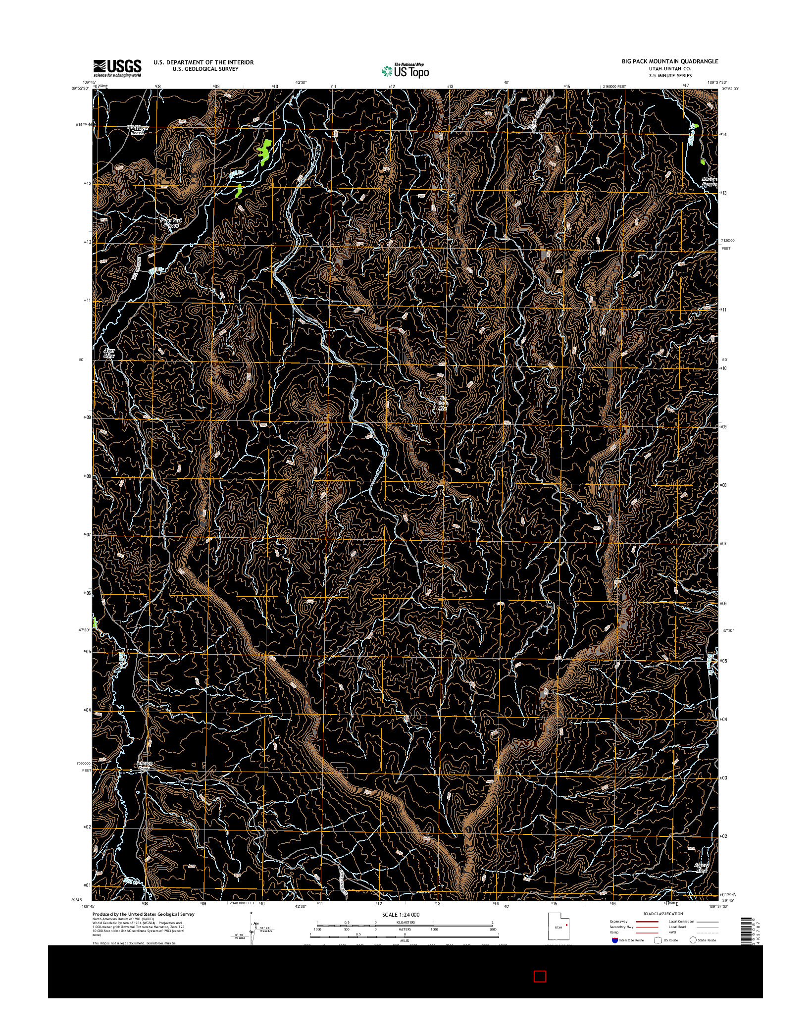USGS US TOPO 7.5-MINUTE MAP FOR BIG PACK MOUNTAIN, UT 2014