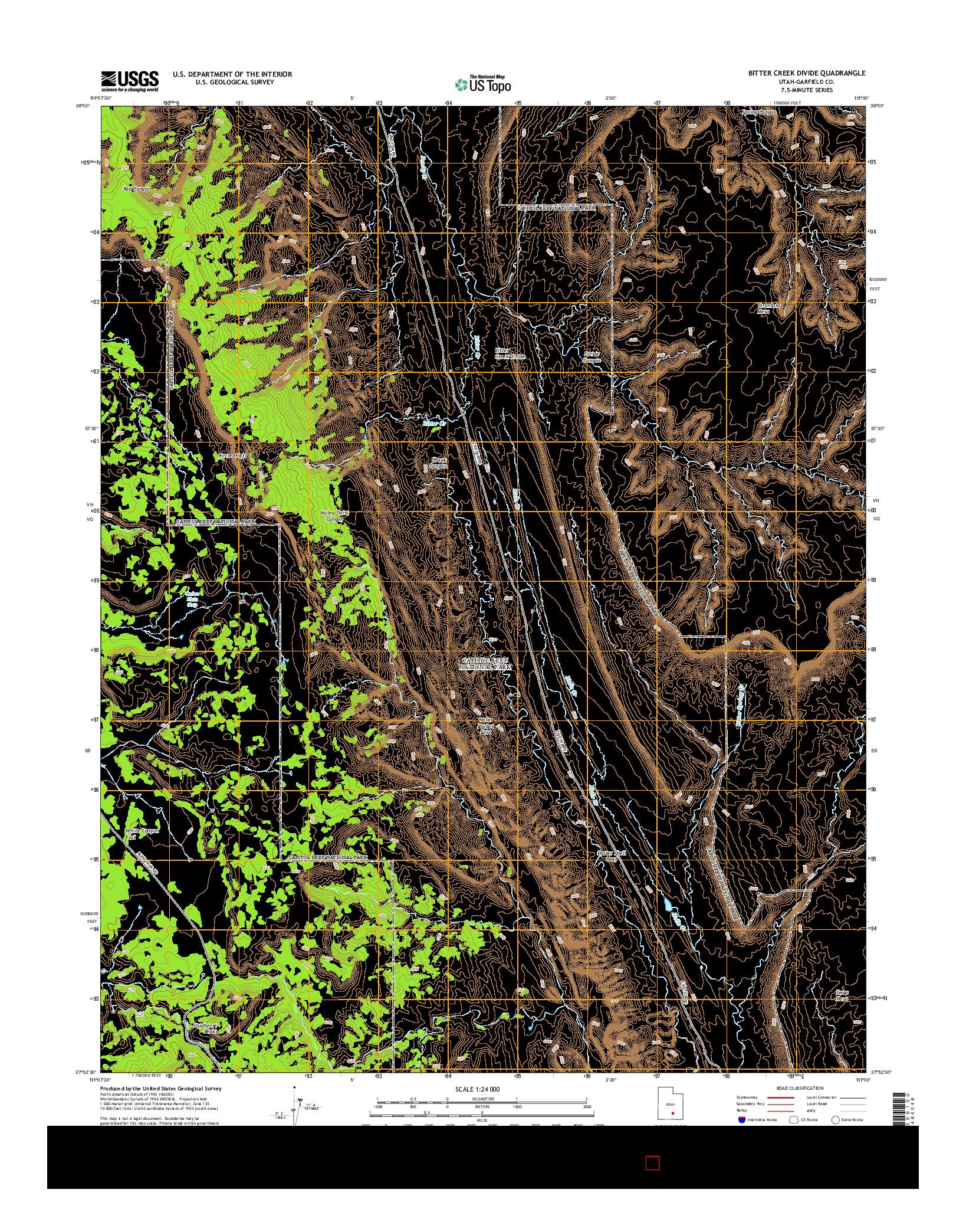 USGS US TOPO 7.5-MINUTE MAP FOR BITTER CREEK DIVIDE, UT 2014
