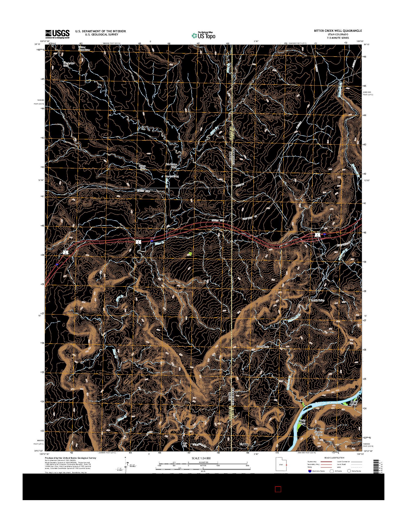 USGS US TOPO 7.5-MINUTE MAP FOR BITTER CREEK WELL, UT-CO 2014