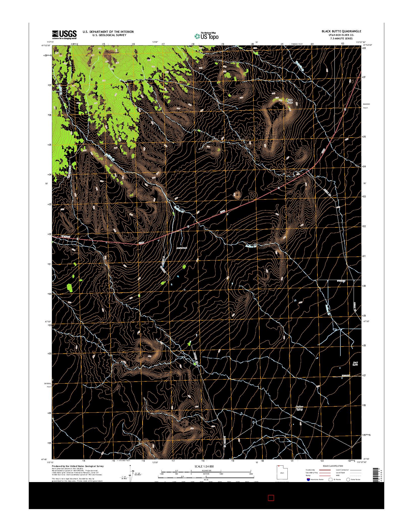 USGS US TOPO 7.5-MINUTE MAP FOR BLACK BUTTE, UT 2014