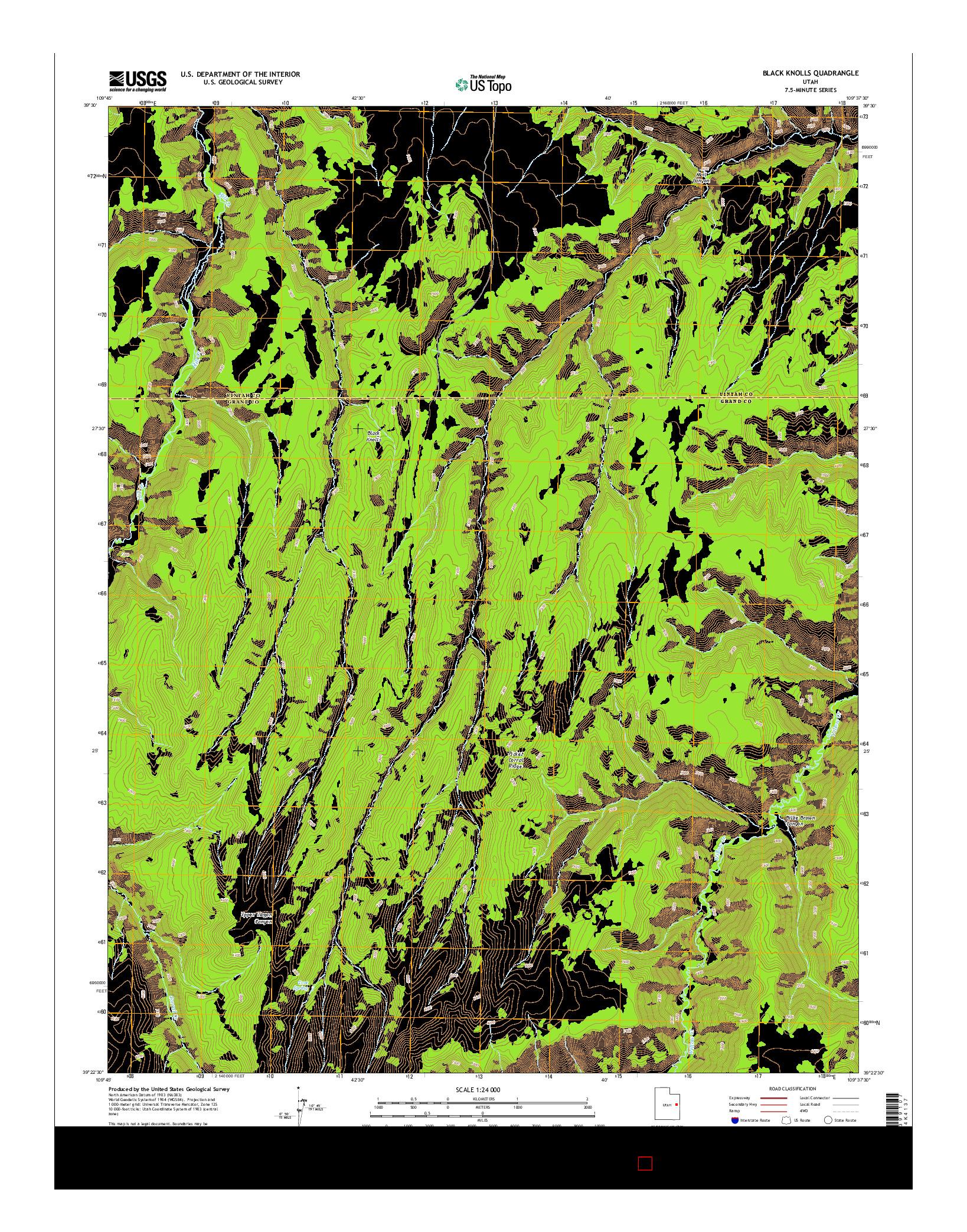USGS US TOPO 7.5-MINUTE MAP FOR BLACK KNOLLS, UT 2014