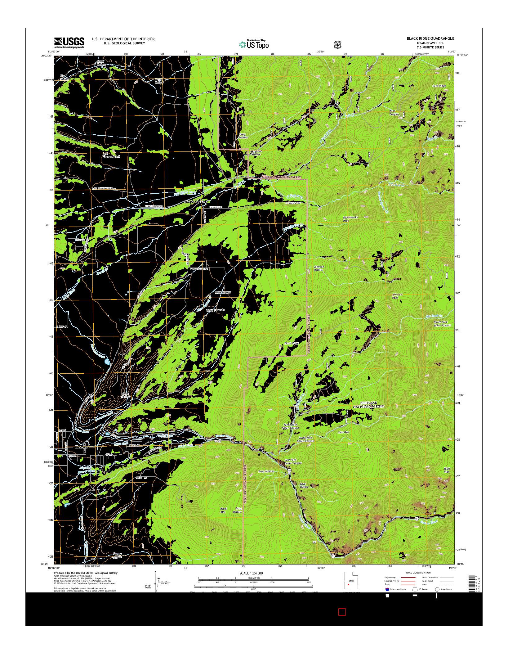 USGS US TOPO 7.5-MINUTE MAP FOR BLACK RIDGE, UT 2014