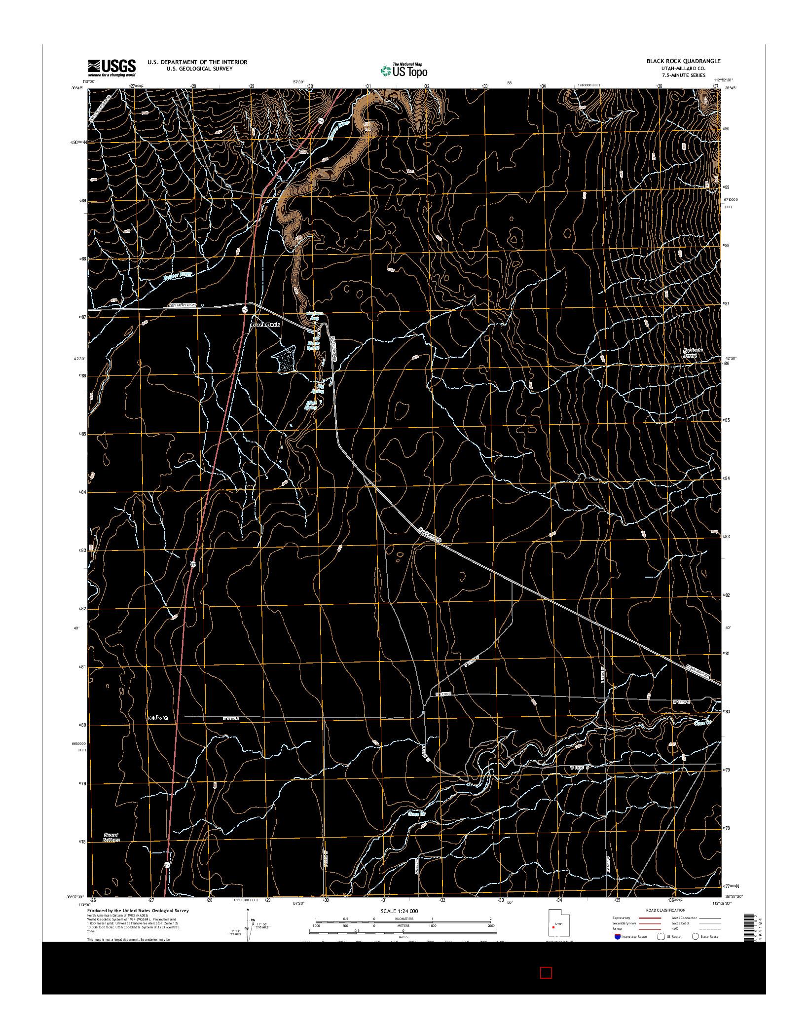 USGS US TOPO 7.5-MINUTE MAP FOR BLACK ROCK, UT 2014