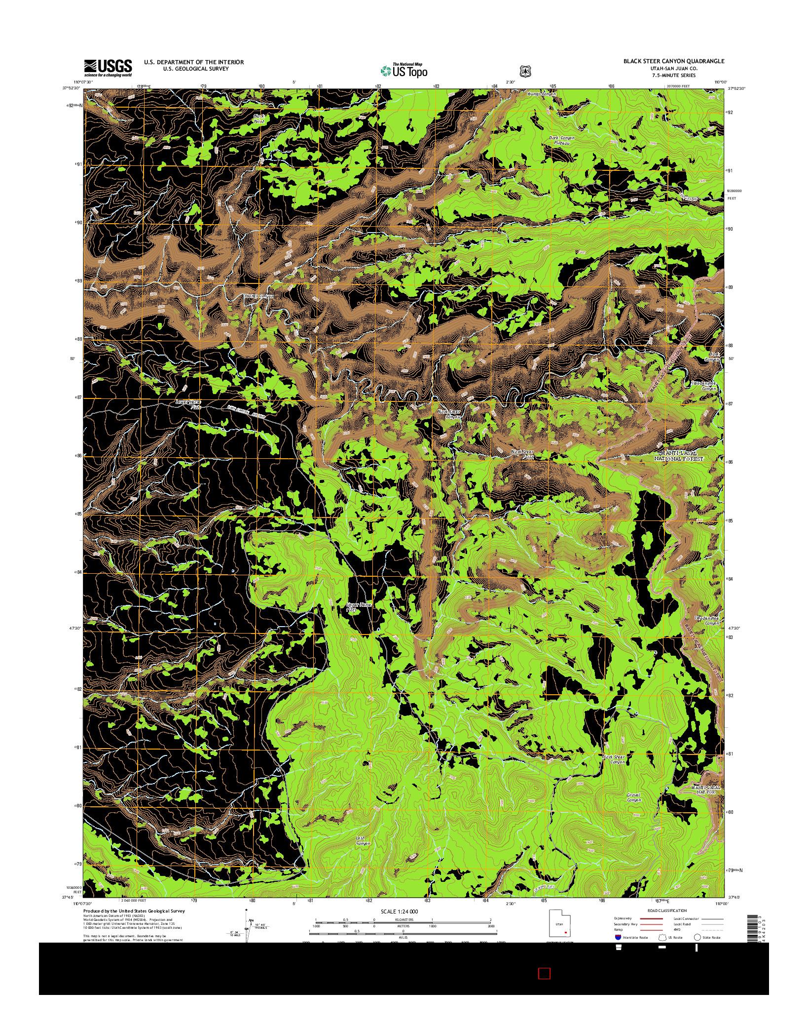 USGS US TOPO 7.5-MINUTE MAP FOR BLACK STEER CANYON, UT 2014