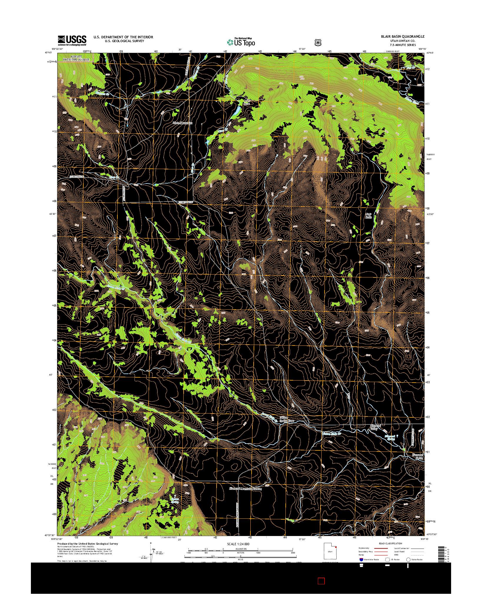 USGS US TOPO 7.5-MINUTE MAP FOR BLAIR BASIN, UT 2014