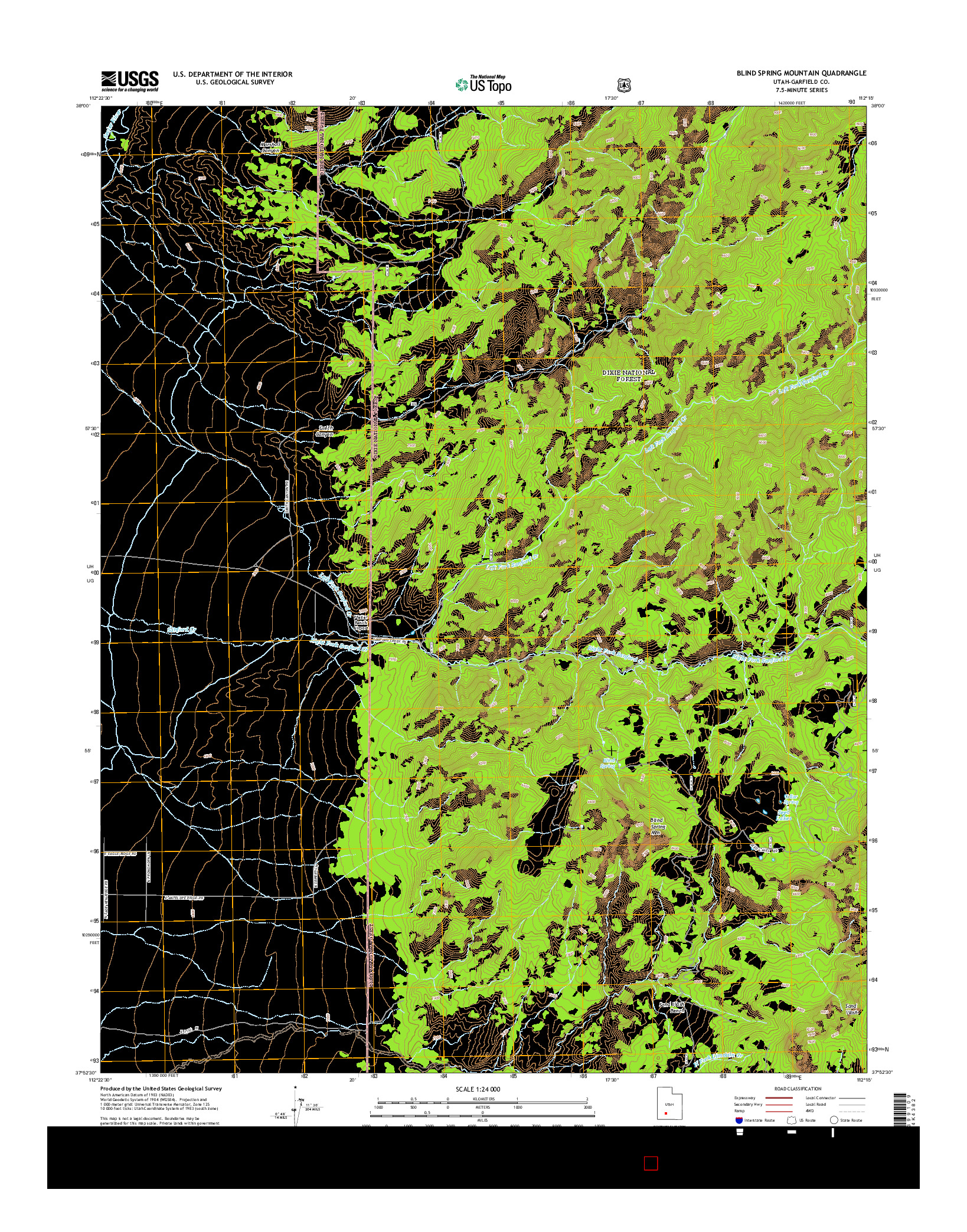 USGS US TOPO 7.5-MINUTE MAP FOR BLIND SPRING MOUNTAIN, UT 2014