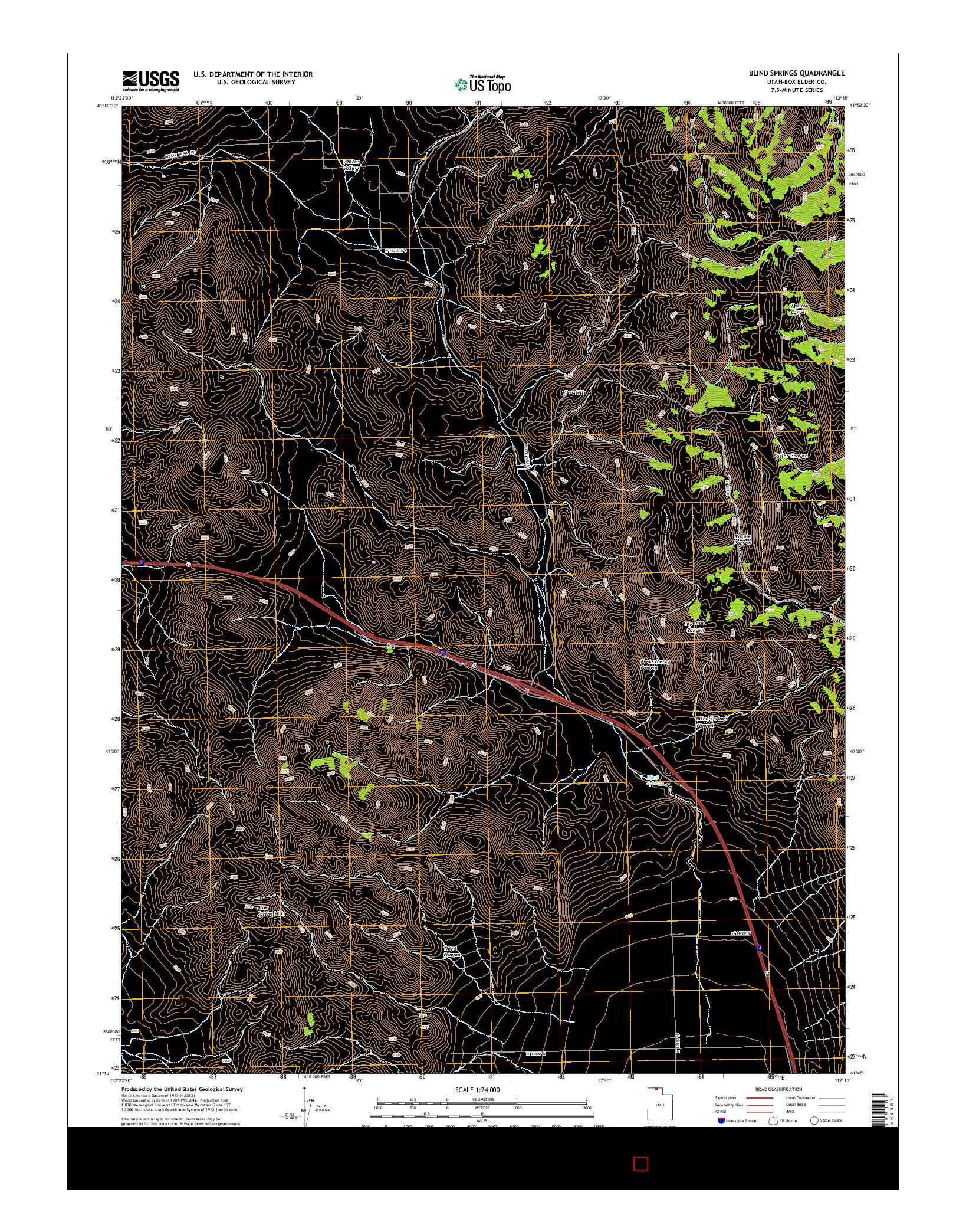 USGS US TOPO 7.5-MINUTE MAP FOR BLIND SPRINGS, UT 2014
