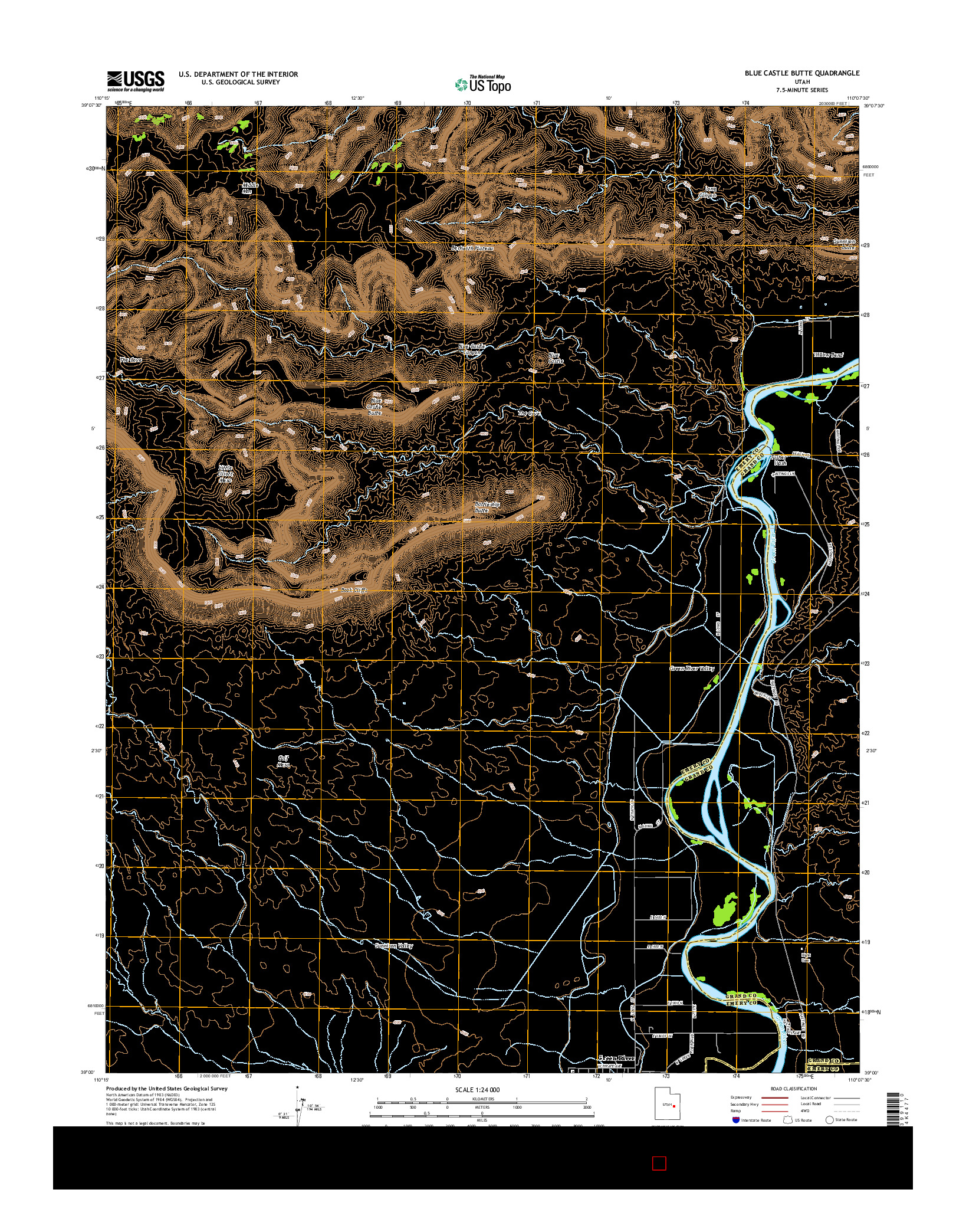 USGS US TOPO 7.5-MINUTE MAP FOR BLUE CASTLE BUTTE, UT 2014