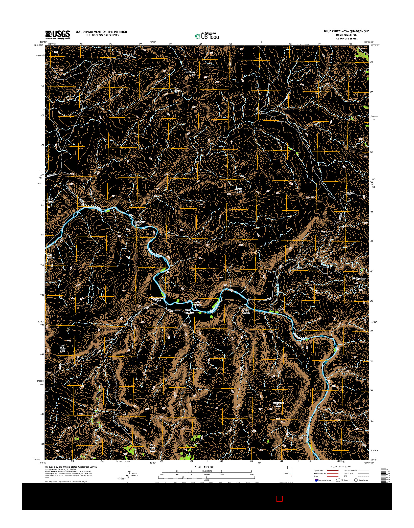 USGS US TOPO 7.5-MINUTE MAP FOR BLUE CHIEF MESA, UT 2014