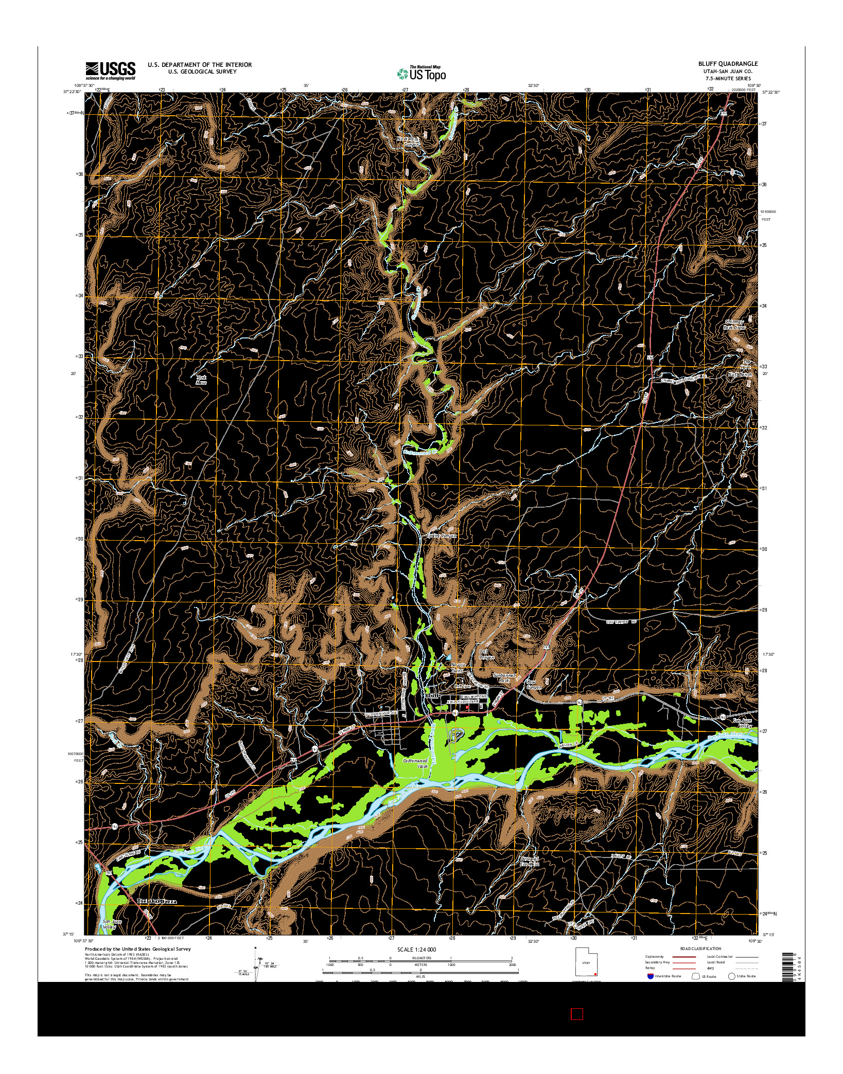 USGS US TOPO 7.5-MINUTE MAP FOR BLUFF, UT 2014