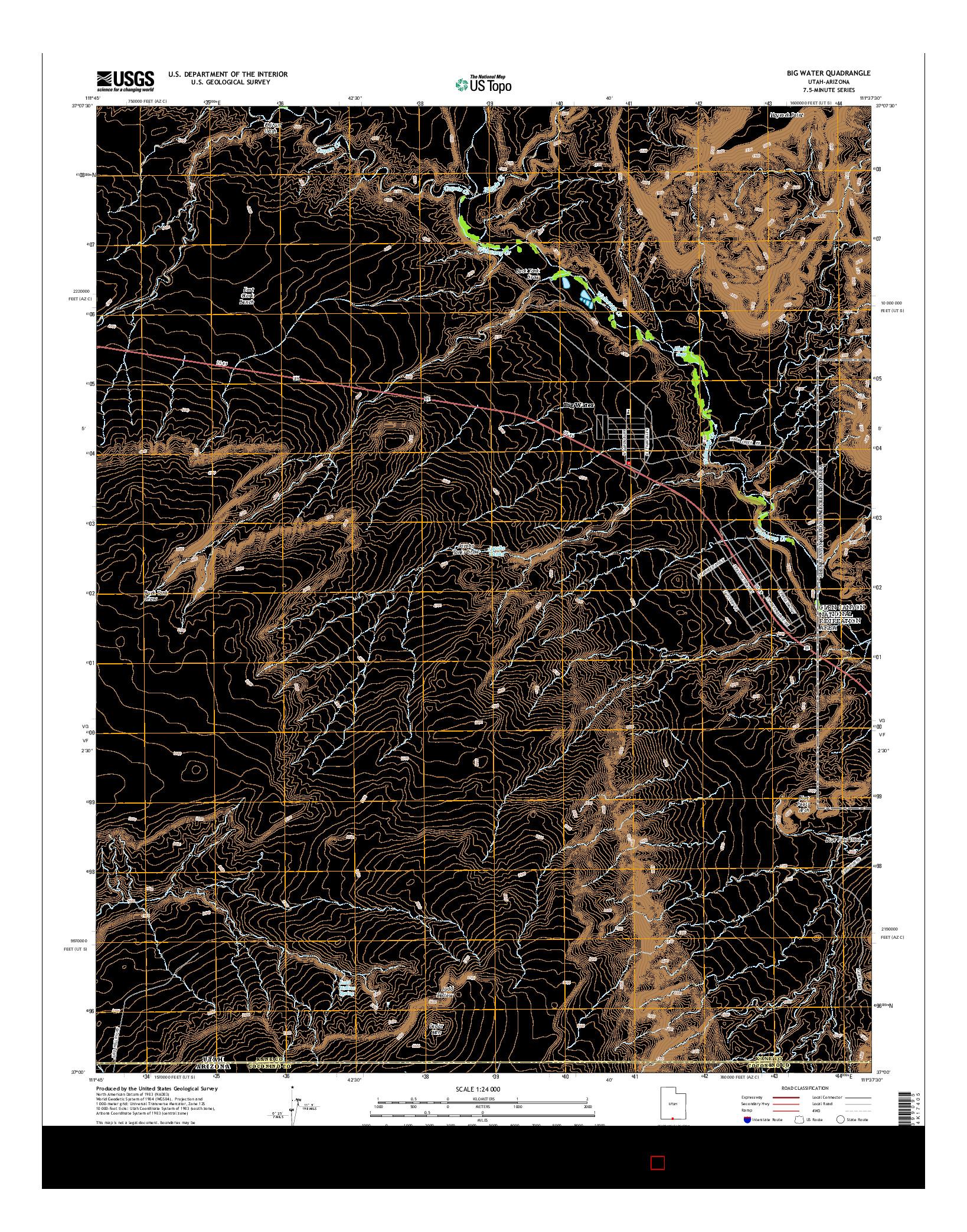 USGS US TOPO 7.5-MINUTE MAP FOR BIG WATER, UT-AZ 2014