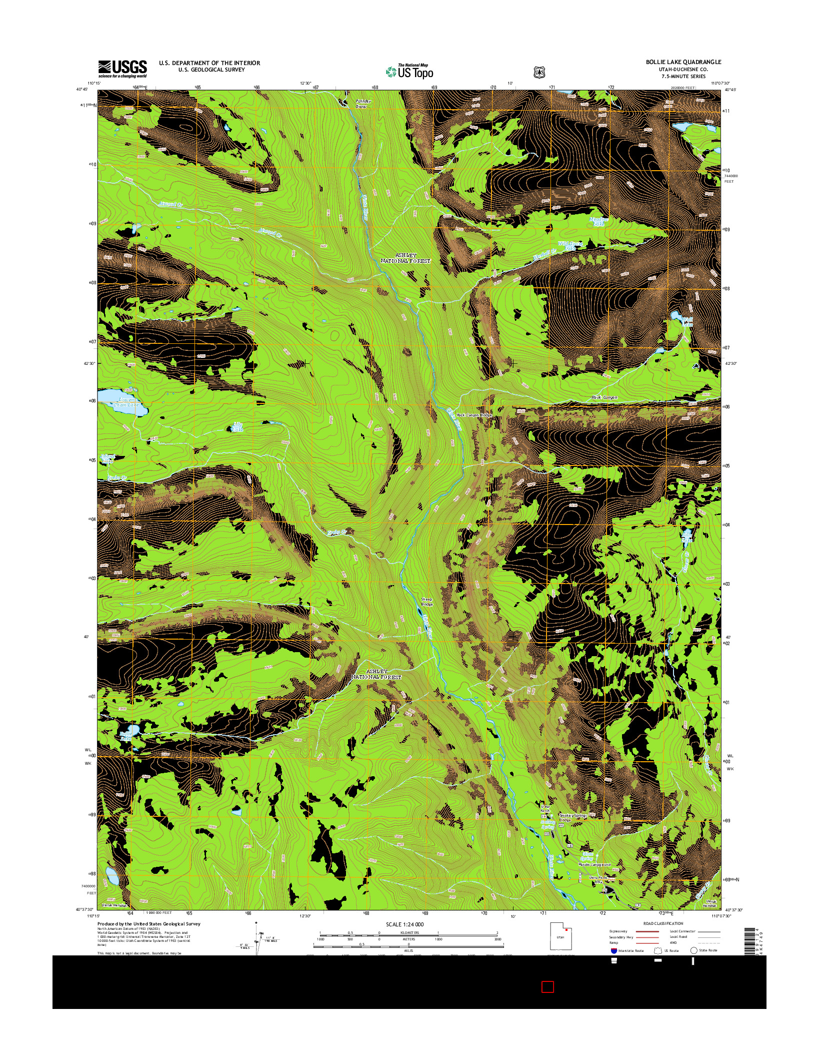 USGS US TOPO 7.5-MINUTE MAP FOR BOLLIE LAKE, UT 2014