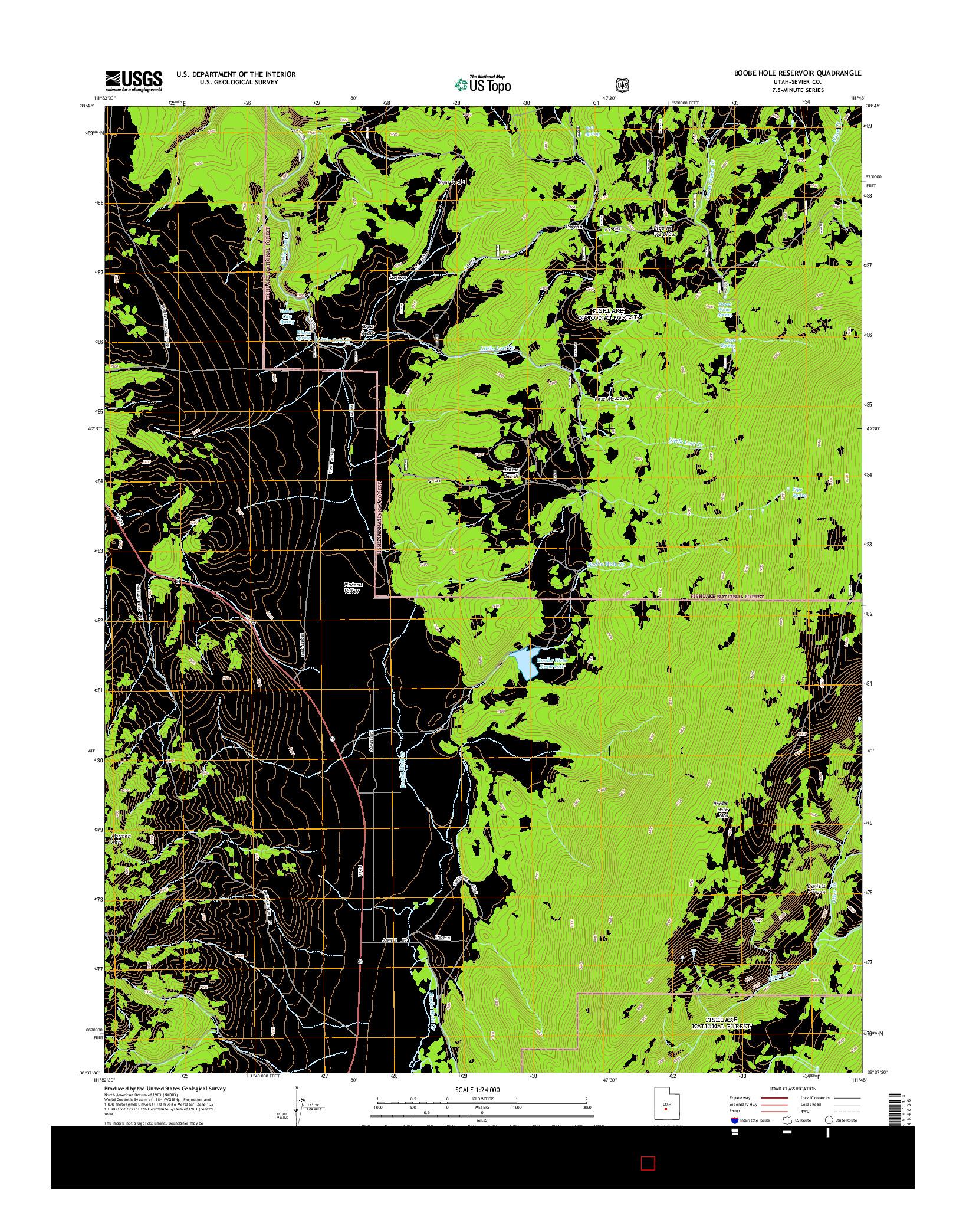 USGS US TOPO 7.5-MINUTE MAP FOR BOOBE HOLE RESERVOIR, UT 2014