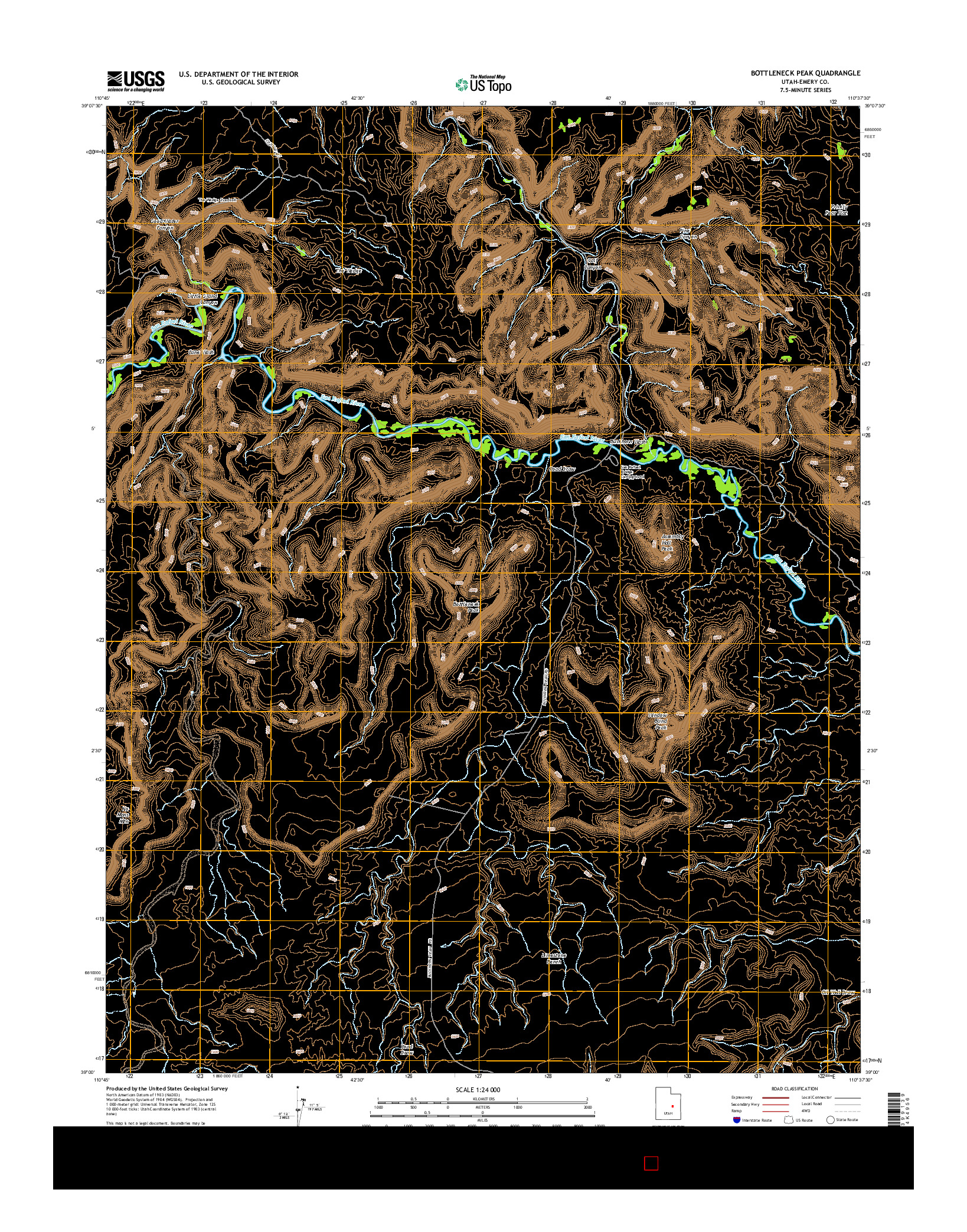 USGS US TOPO 7.5-MINUTE MAP FOR BOTTLENECK PEAK, UT 2014