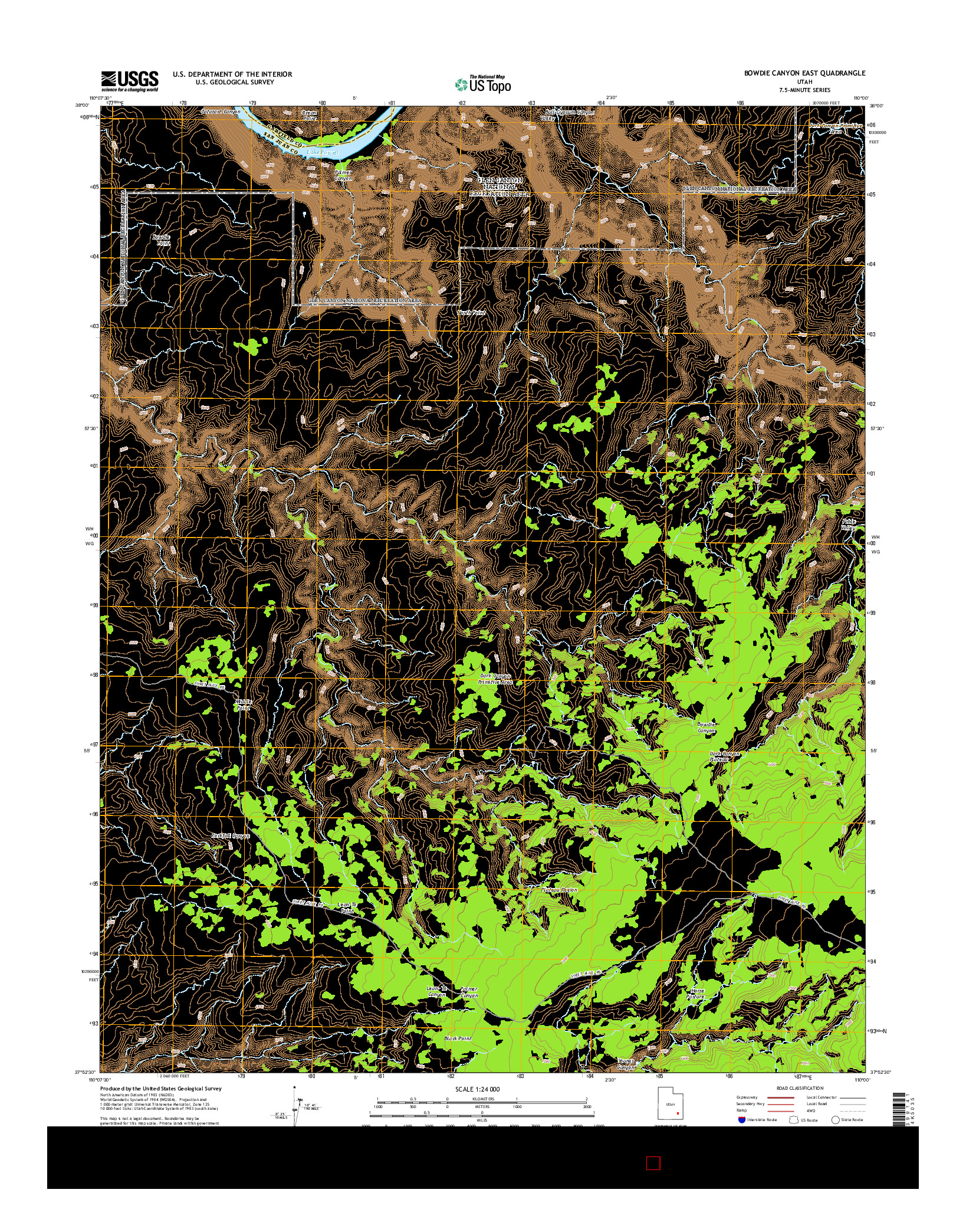 USGS US TOPO 7.5-MINUTE MAP FOR BOWDIE CANYON EAST, UT 2014