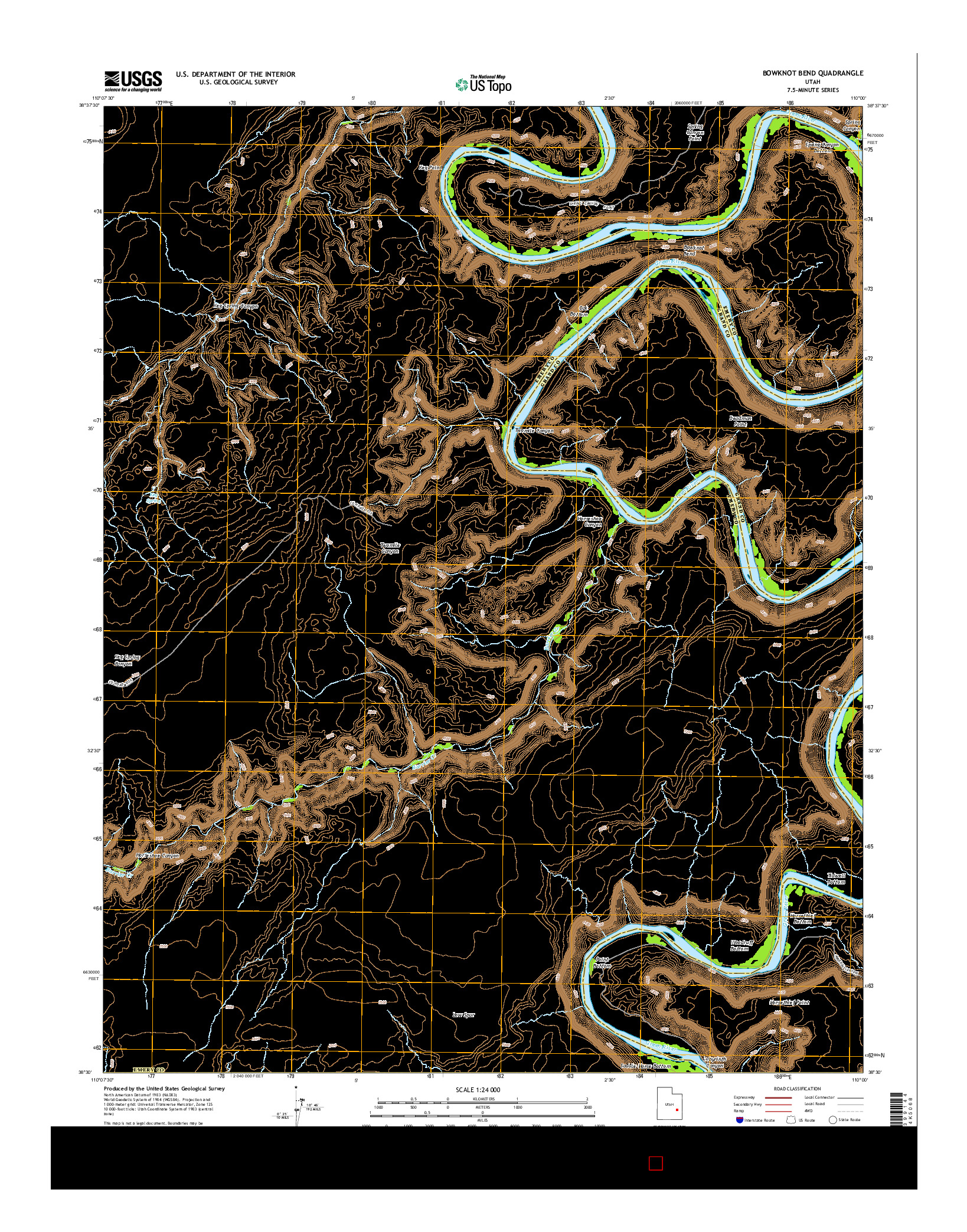 USGS US TOPO 7.5-MINUTE MAP FOR BOWKNOT BEND, UT 2014
