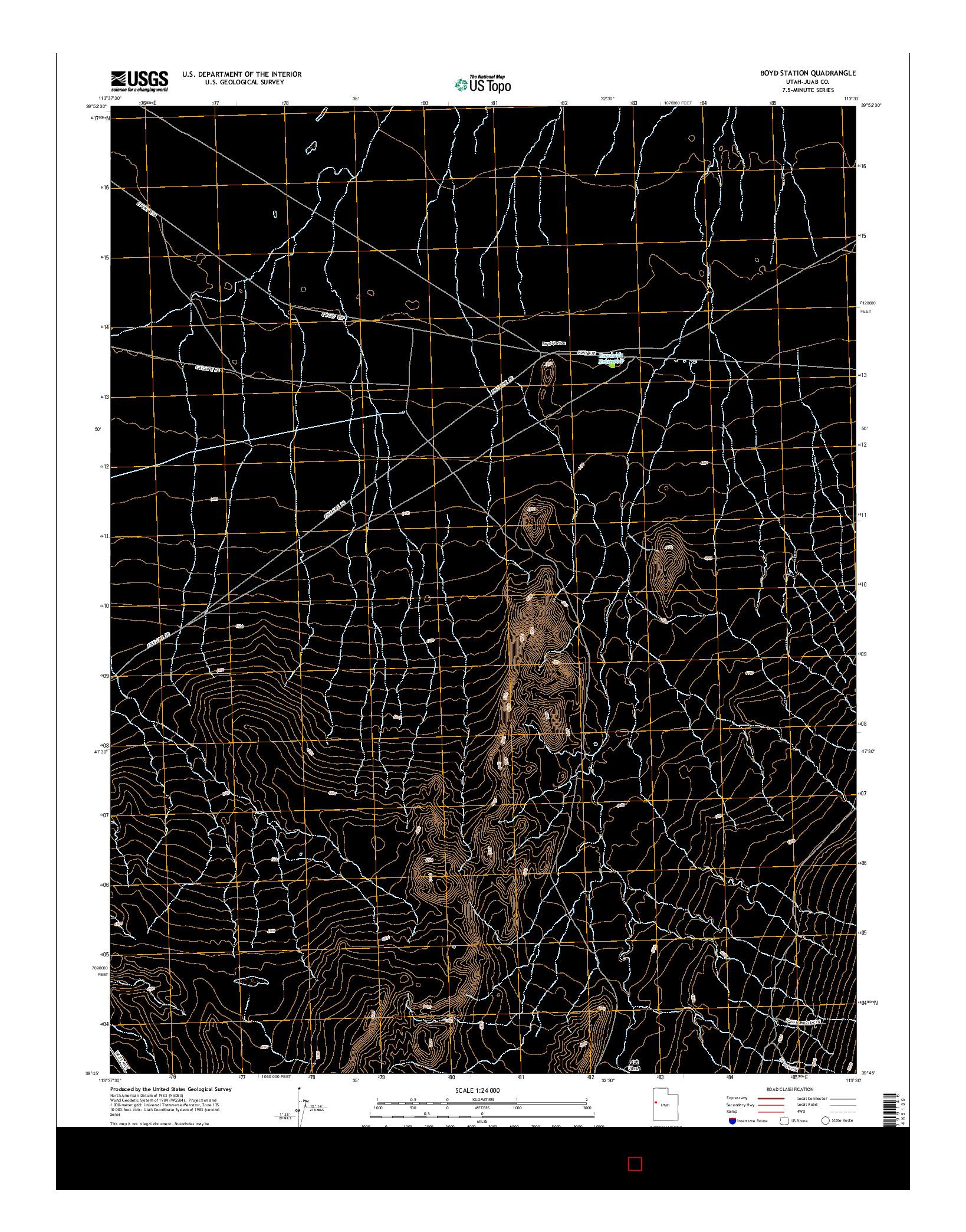 USGS US TOPO 7.5-MINUTE MAP FOR BOYD STATION, UT 2014