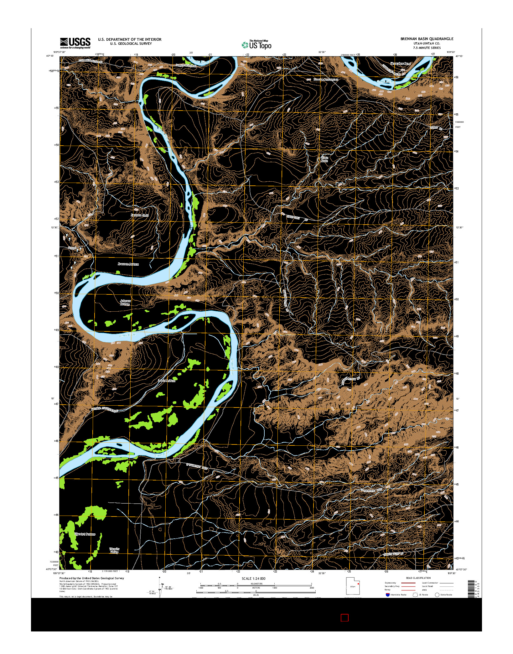USGS US TOPO 7.5-MINUTE MAP FOR BRENNAN BASIN, UT 2014