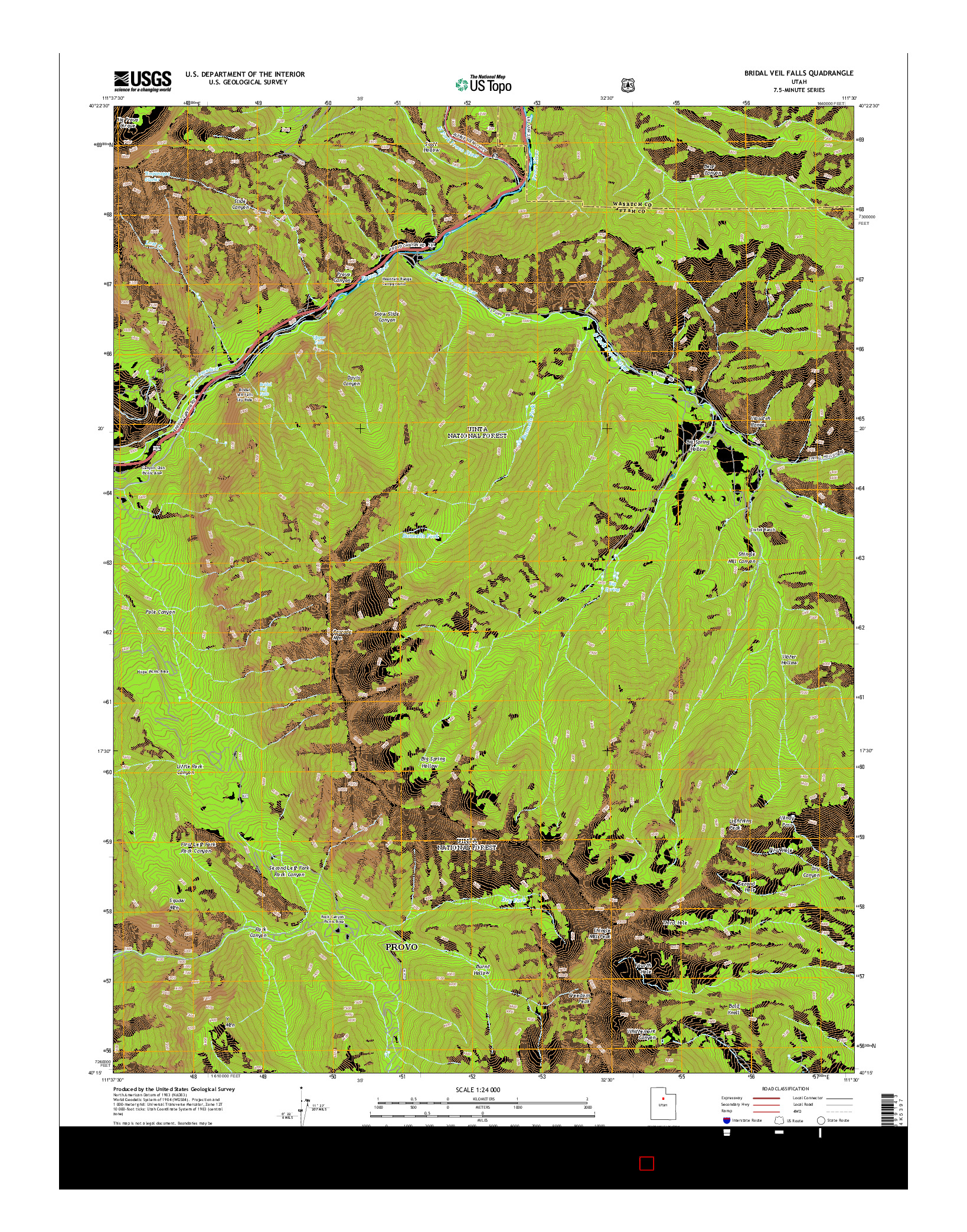 USGS US TOPO 7.5-MINUTE MAP FOR BRIDAL VEIL FALLS, UT 2014