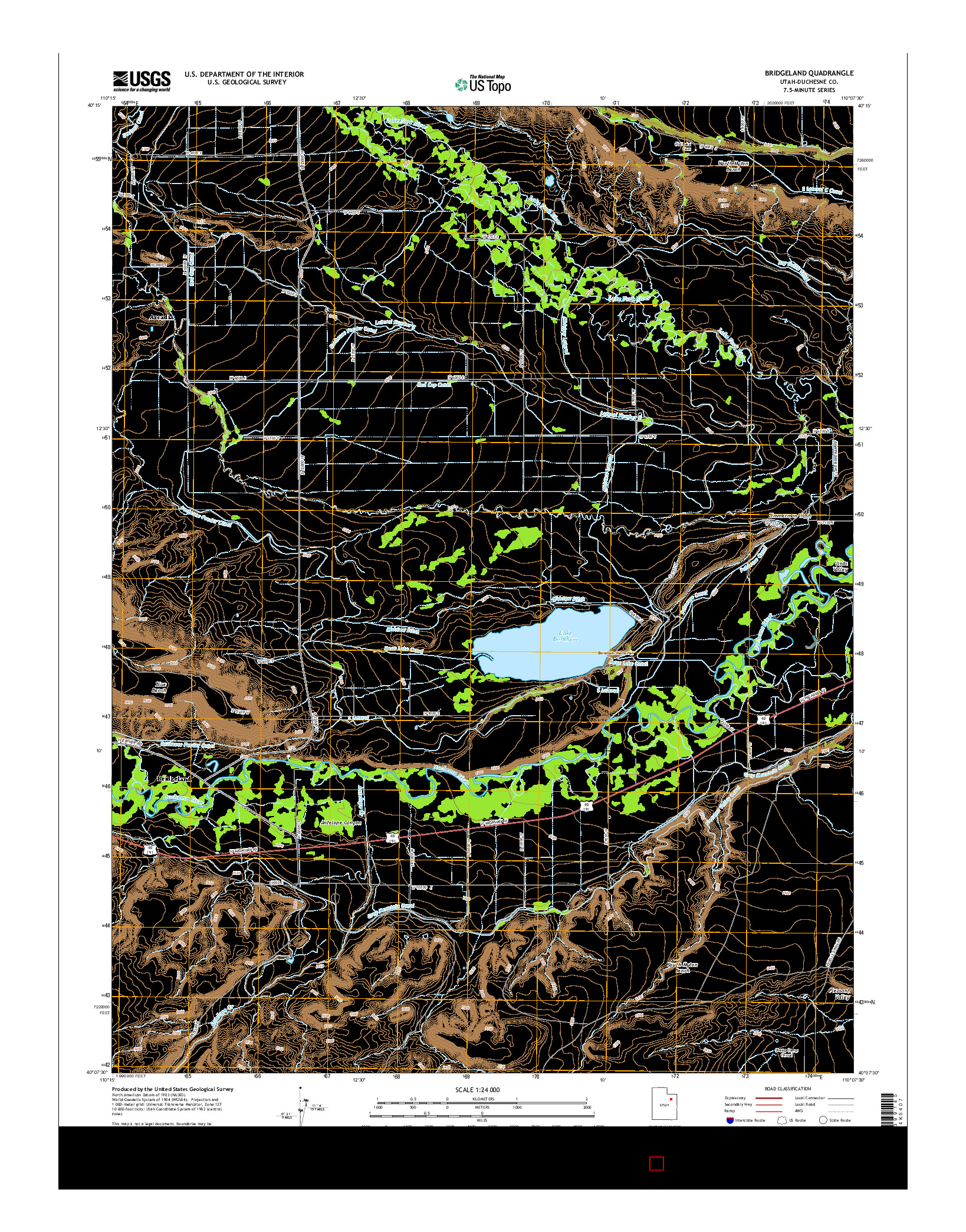 USGS US TOPO 7.5-MINUTE MAP FOR BRIDGELAND, UT 2014