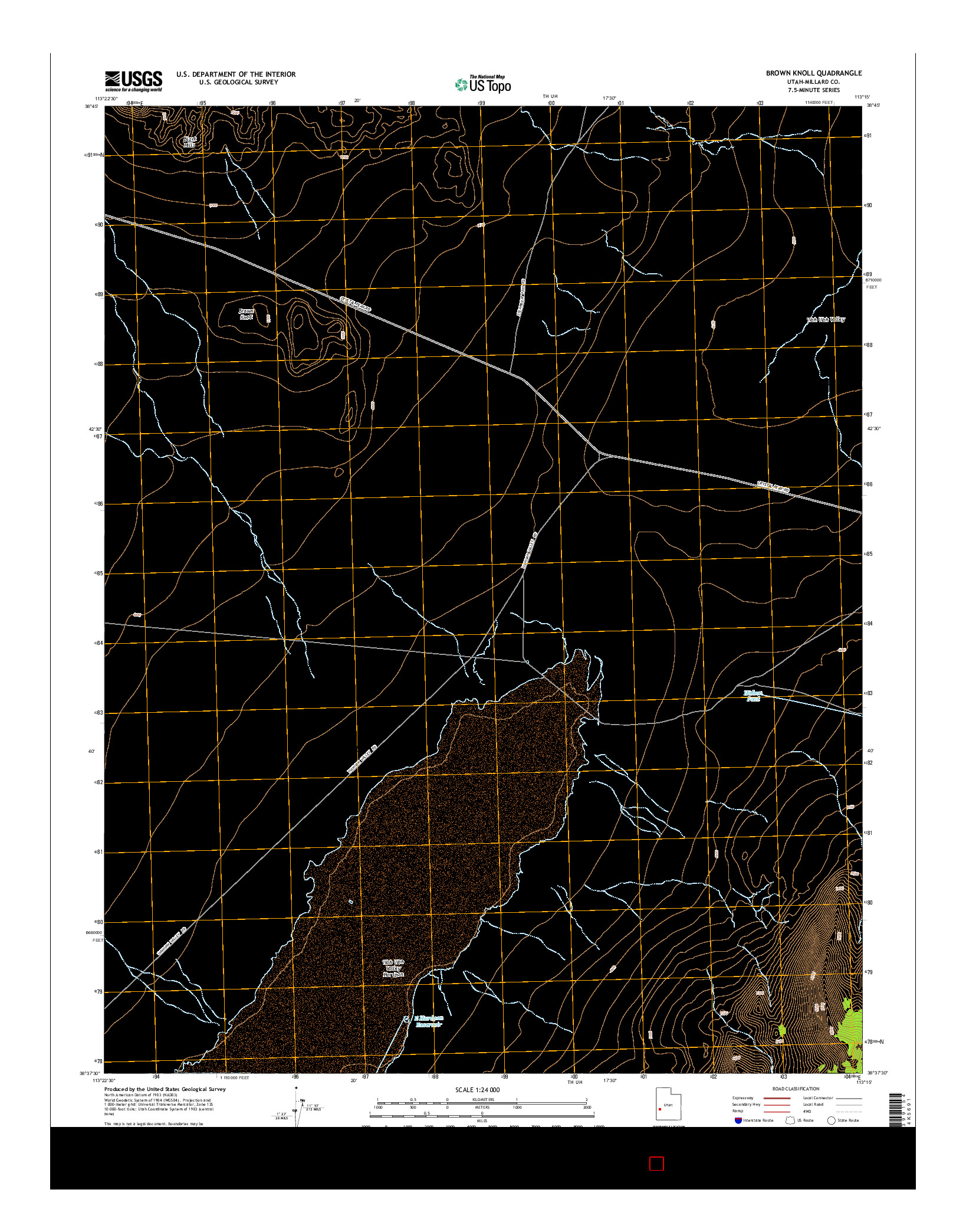 USGS US TOPO 7.5-MINUTE MAP FOR BROWN KNOLL, UT 2014
