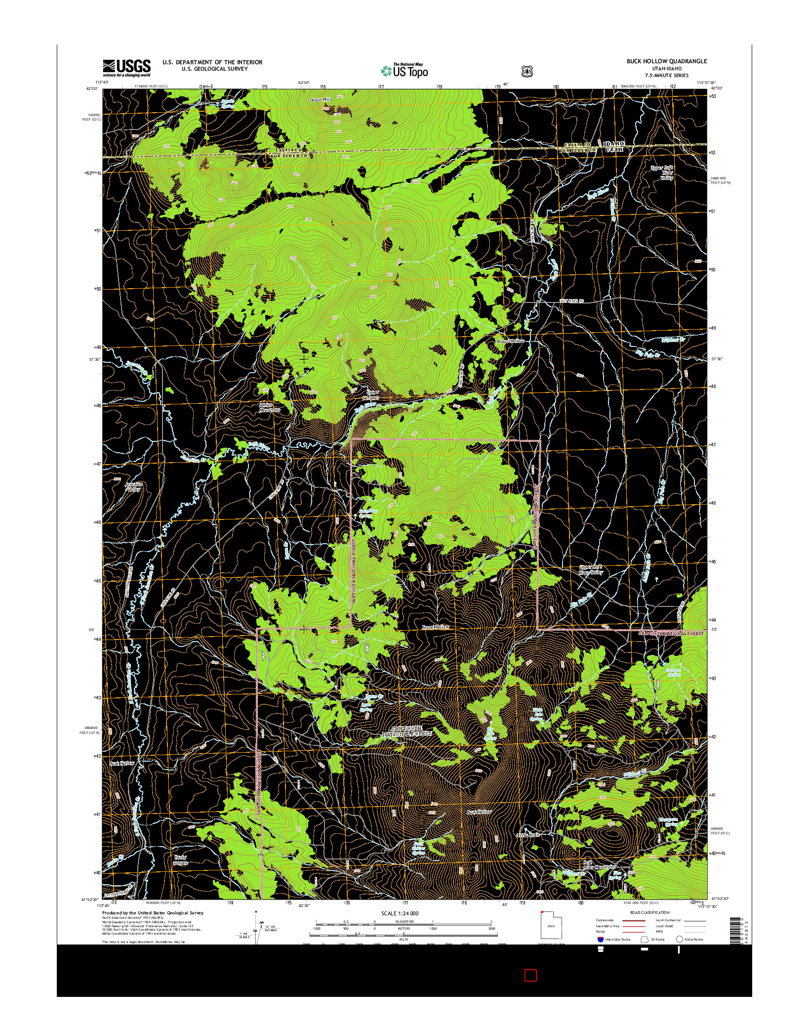 USGS US TOPO 7.5-MINUTE MAP FOR BUCK HOLLOW, UT-ID 2014
