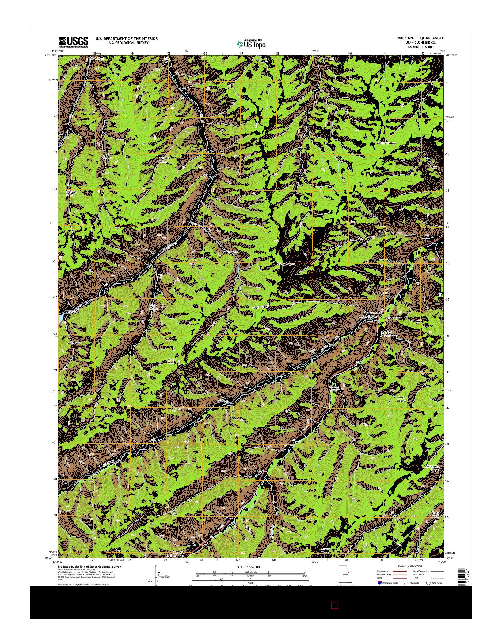 USGS US TOPO 7.5-MINUTE MAP FOR BUCK KNOLL, UT 2014