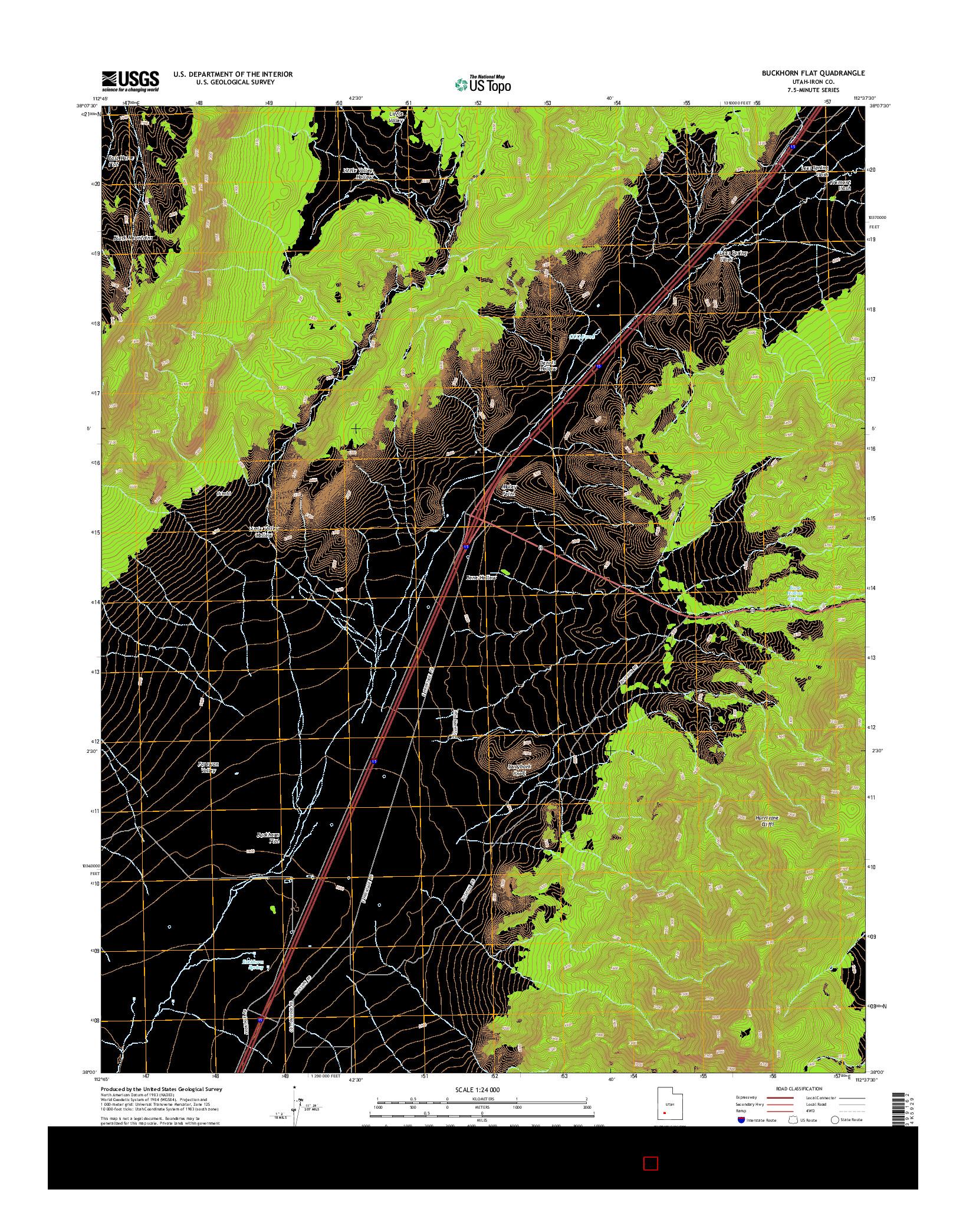 USGS US TOPO 7.5-MINUTE MAP FOR BUCKHORN FLAT, UT 2014