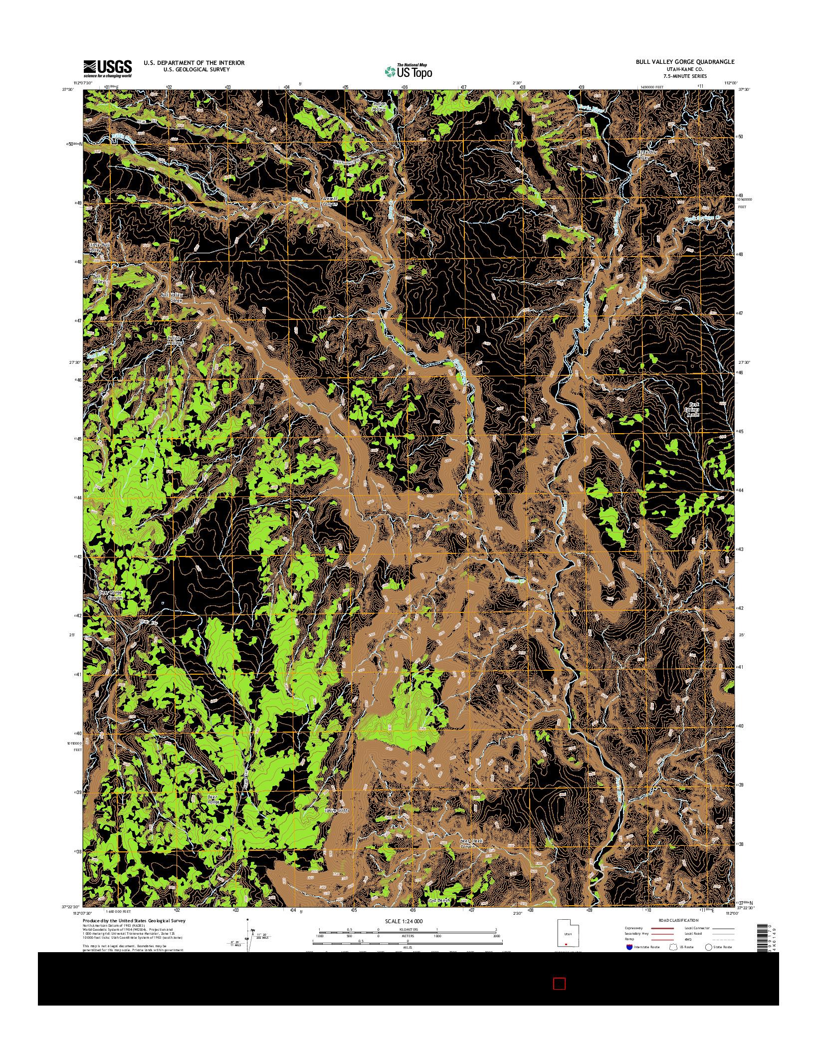 USGS US TOPO 7.5-MINUTE MAP FOR BULL VALLEY GORGE, UT 2014