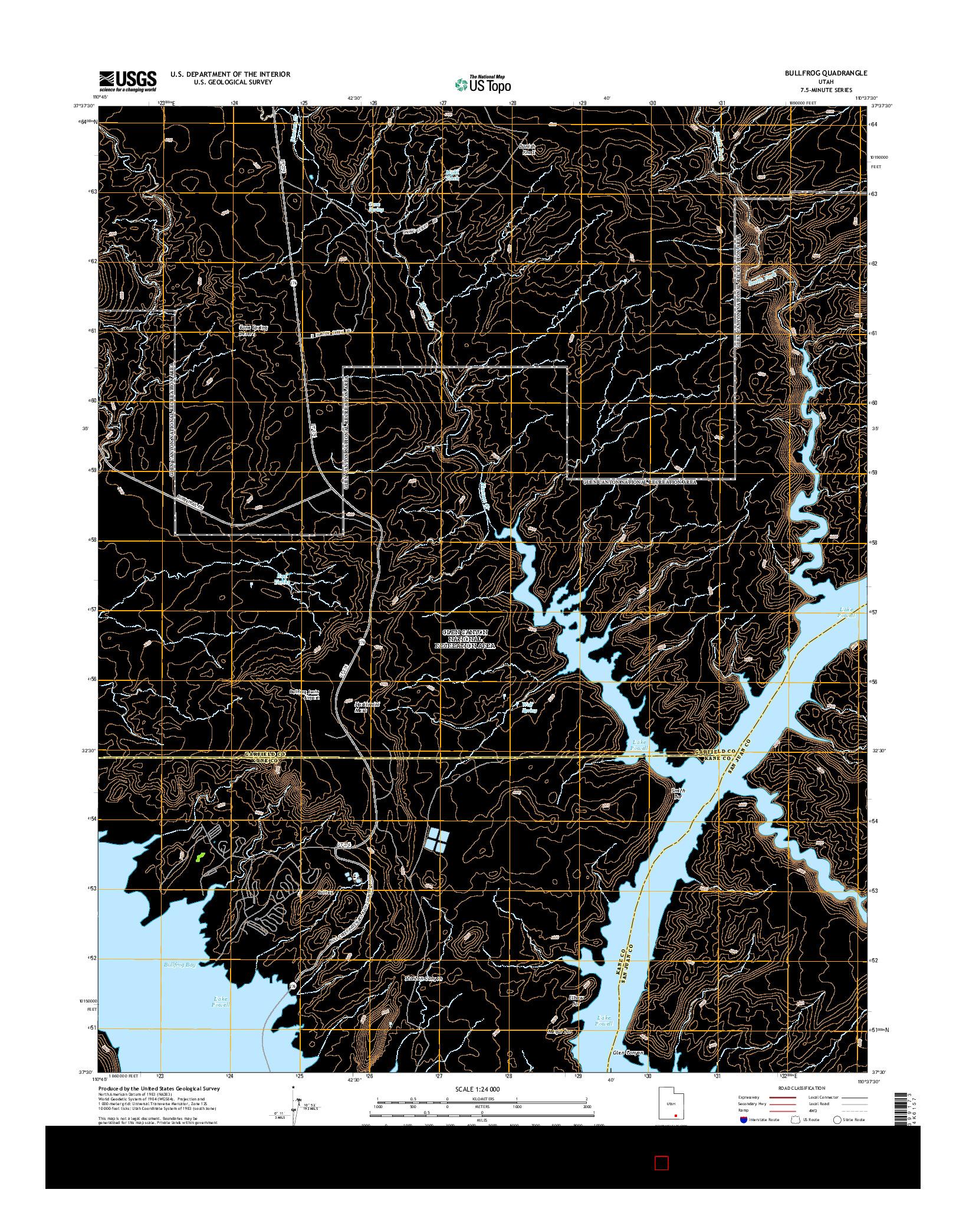 USGS US TOPO 7.5-MINUTE MAP FOR BULLFROG, UT 2014