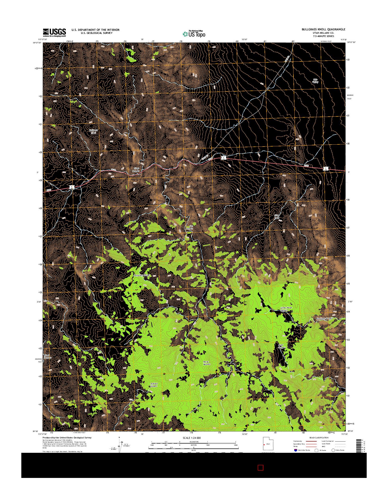 USGS US TOPO 7.5-MINUTE MAP FOR BULLGRASS KNOLL, UT 2014