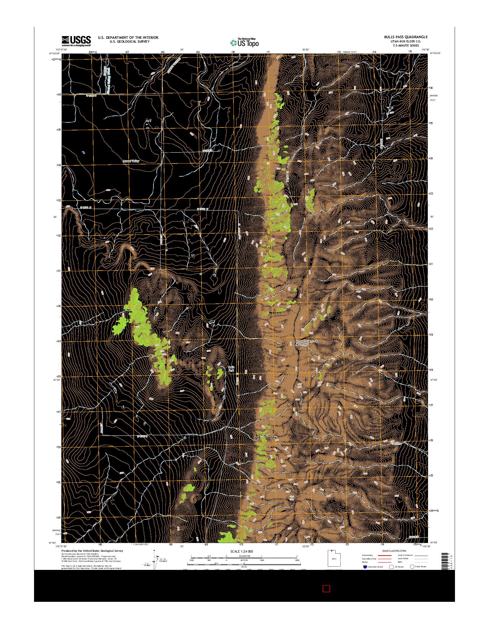 USGS US TOPO 7.5-MINUTE MAP FOR BULLS PASS, UT 2014
