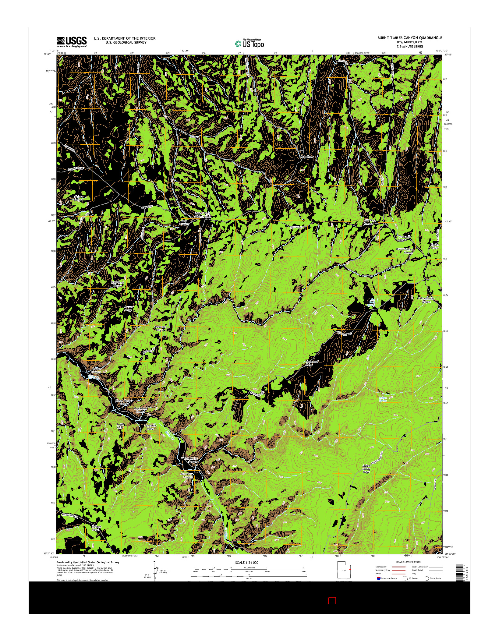 USGS US TOPO 7.5-MINUTE MAP FOR BURNT TIMBER CANYON, UT 2014