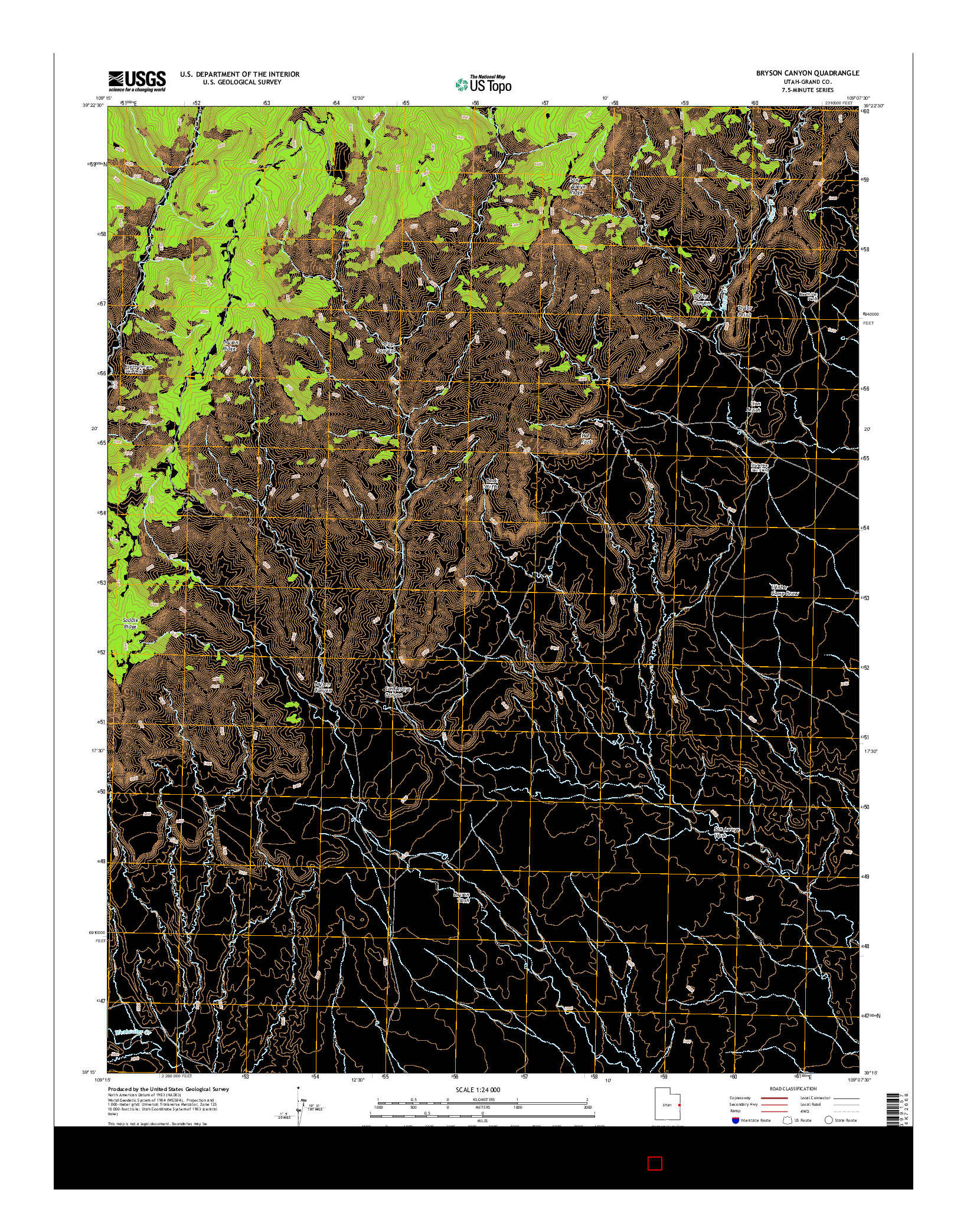 USGS US TOPO 7.5-MINUTE MAP FOR BRYSON CANYON, UT 2014