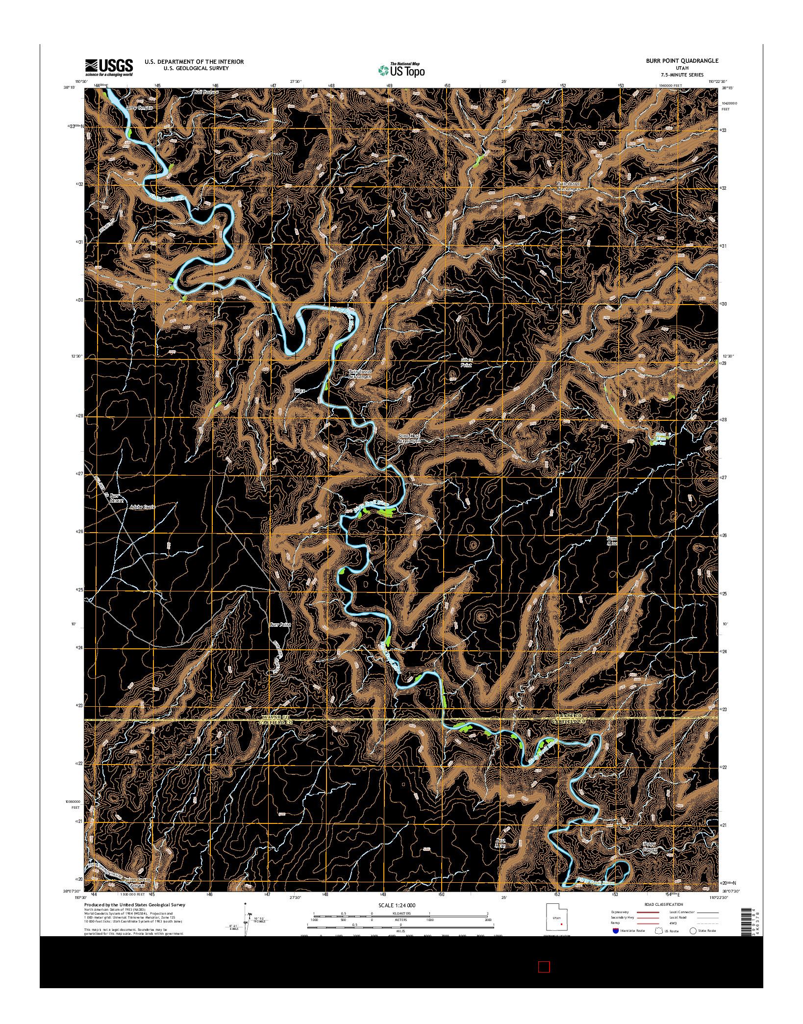 USGS US TOPO 7.5-MINUTE MAP FOR BURR POINT, UT 2014