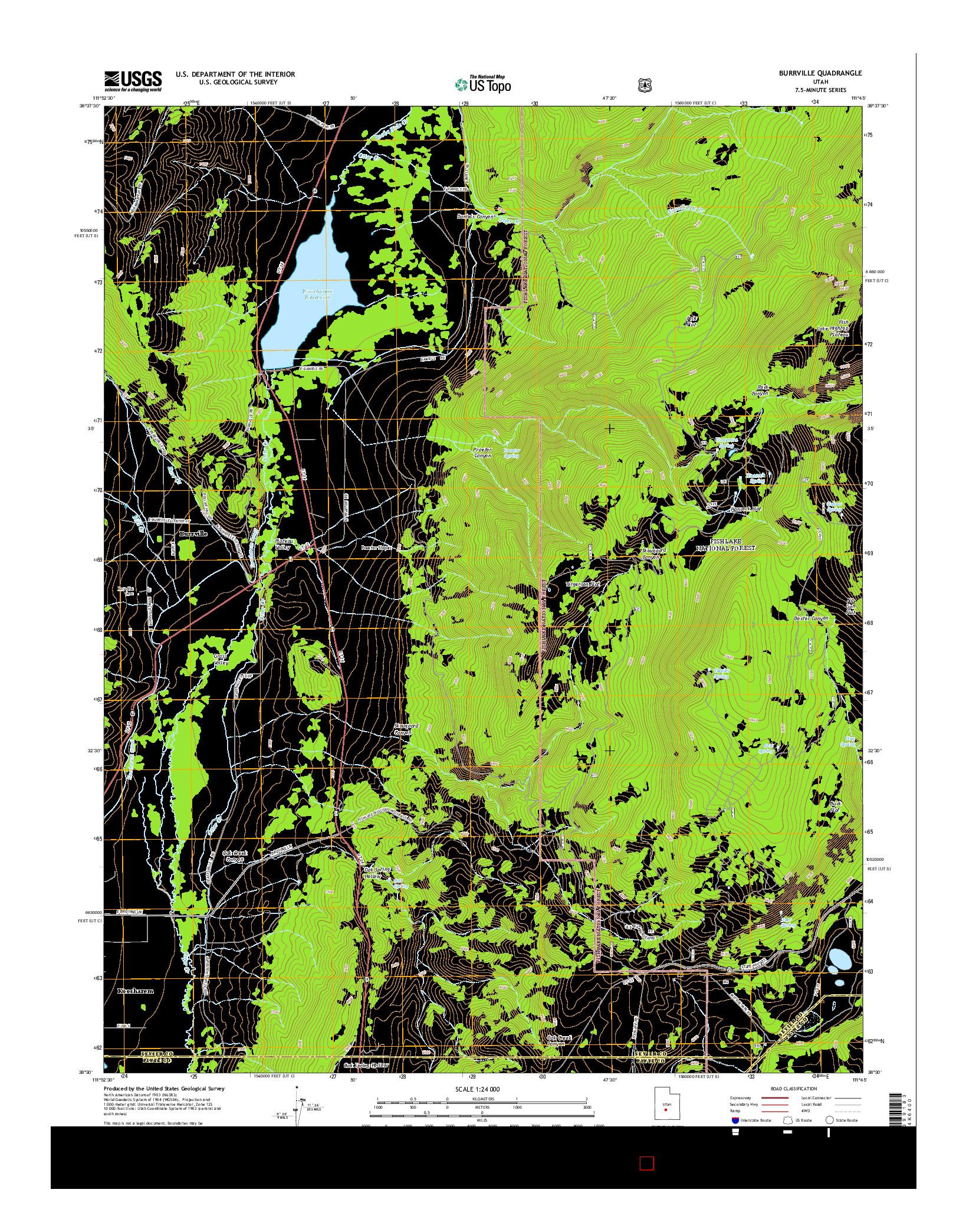 USGS US TOPO 7.5-MINUTE MAP FOR BURRVILLE, UT 2014