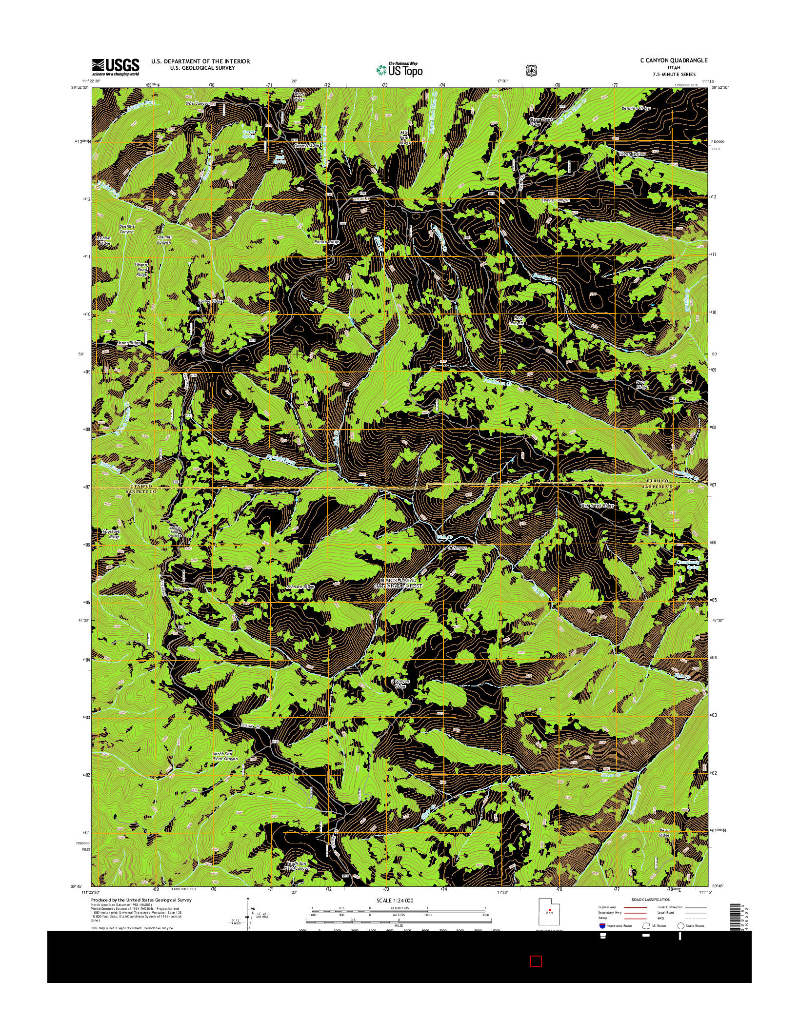 USGS US TOPO 7.5-MINUTE MAP FOR C CANYON, UT 2014