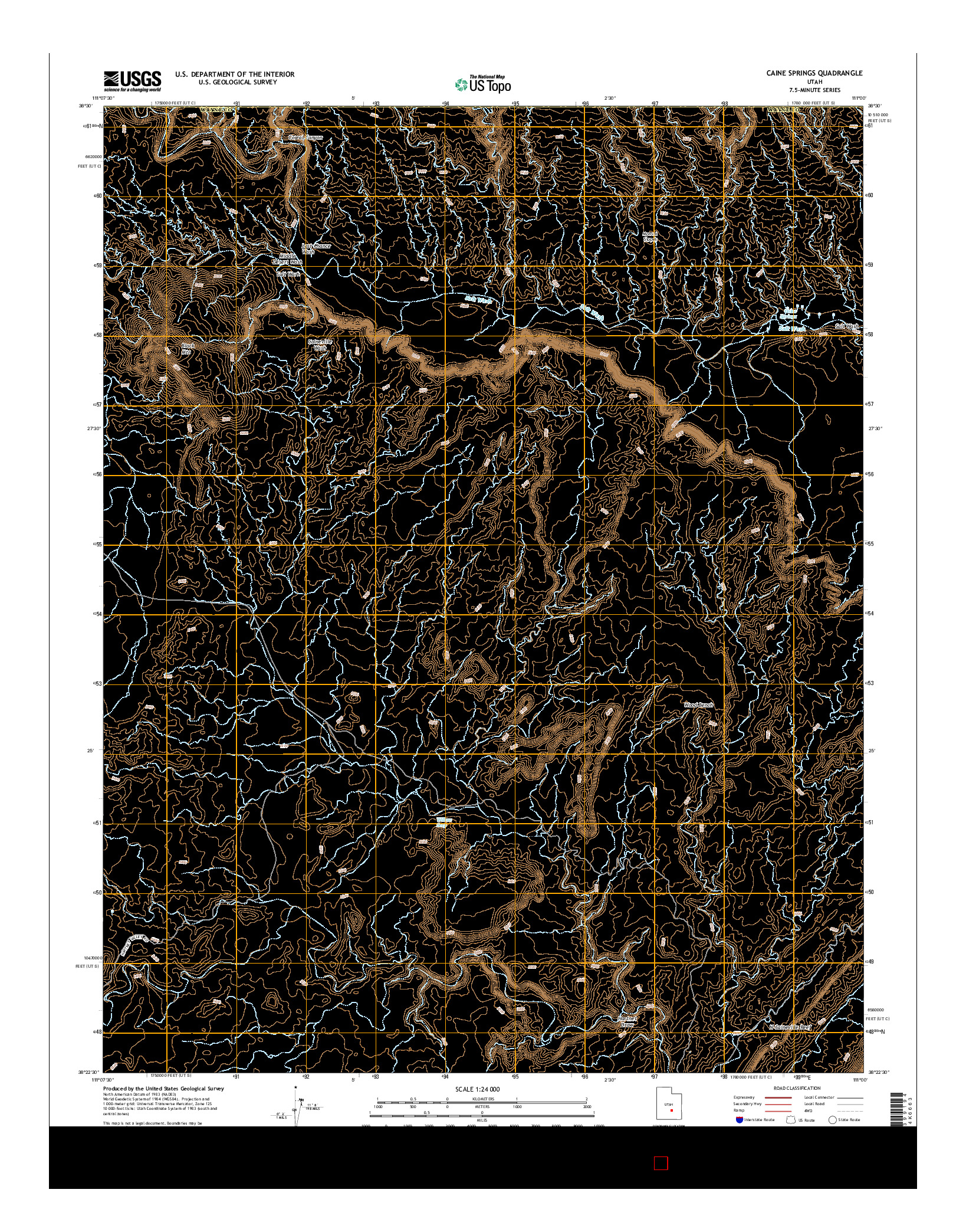 USGS US TOPO 7.5-MINUTE MAP FOR CAINE SPRINGS, UT 2014