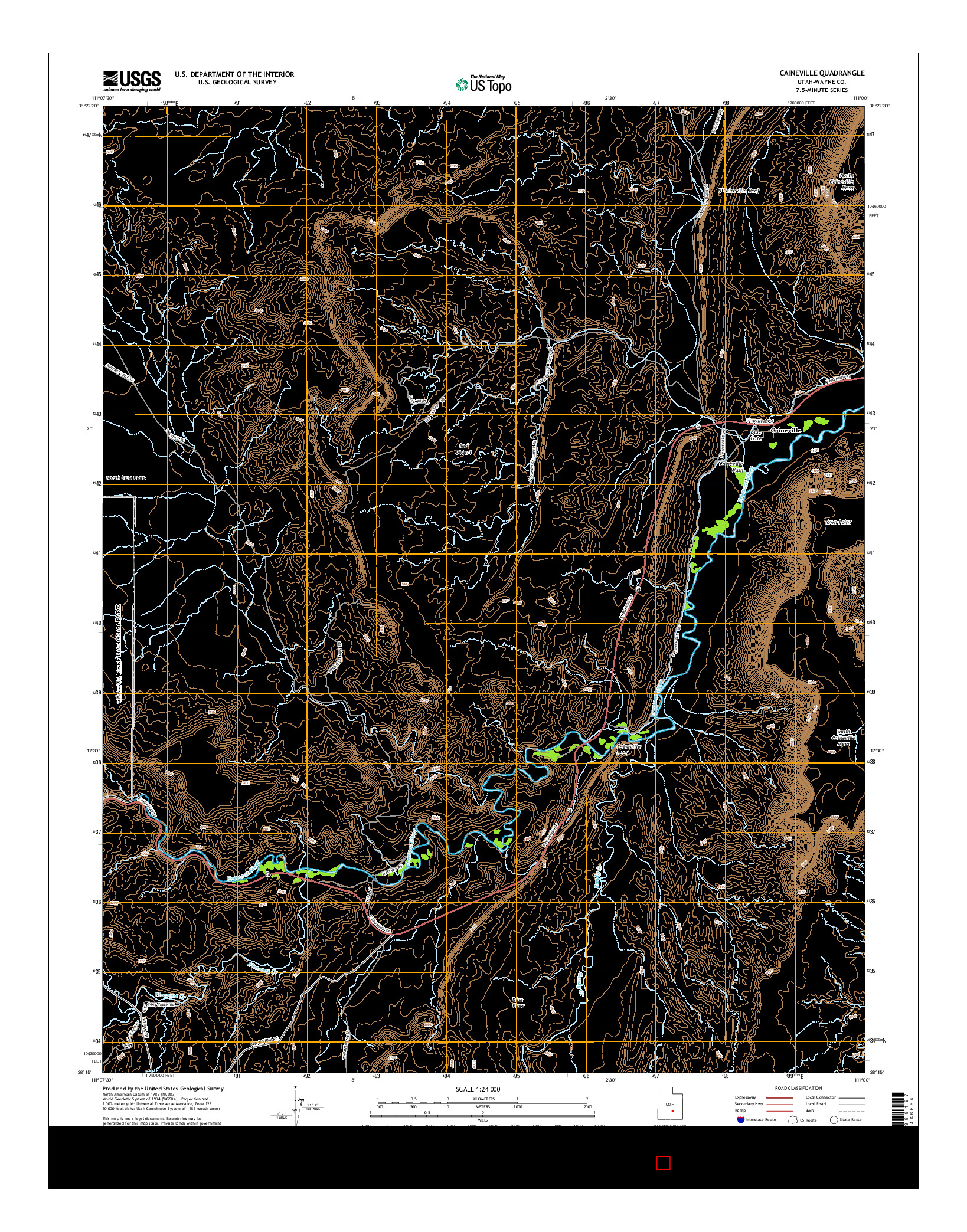 USGS US TOPO 7.5-MINUTE MAP FOR CAINEVILLE, UT 2014