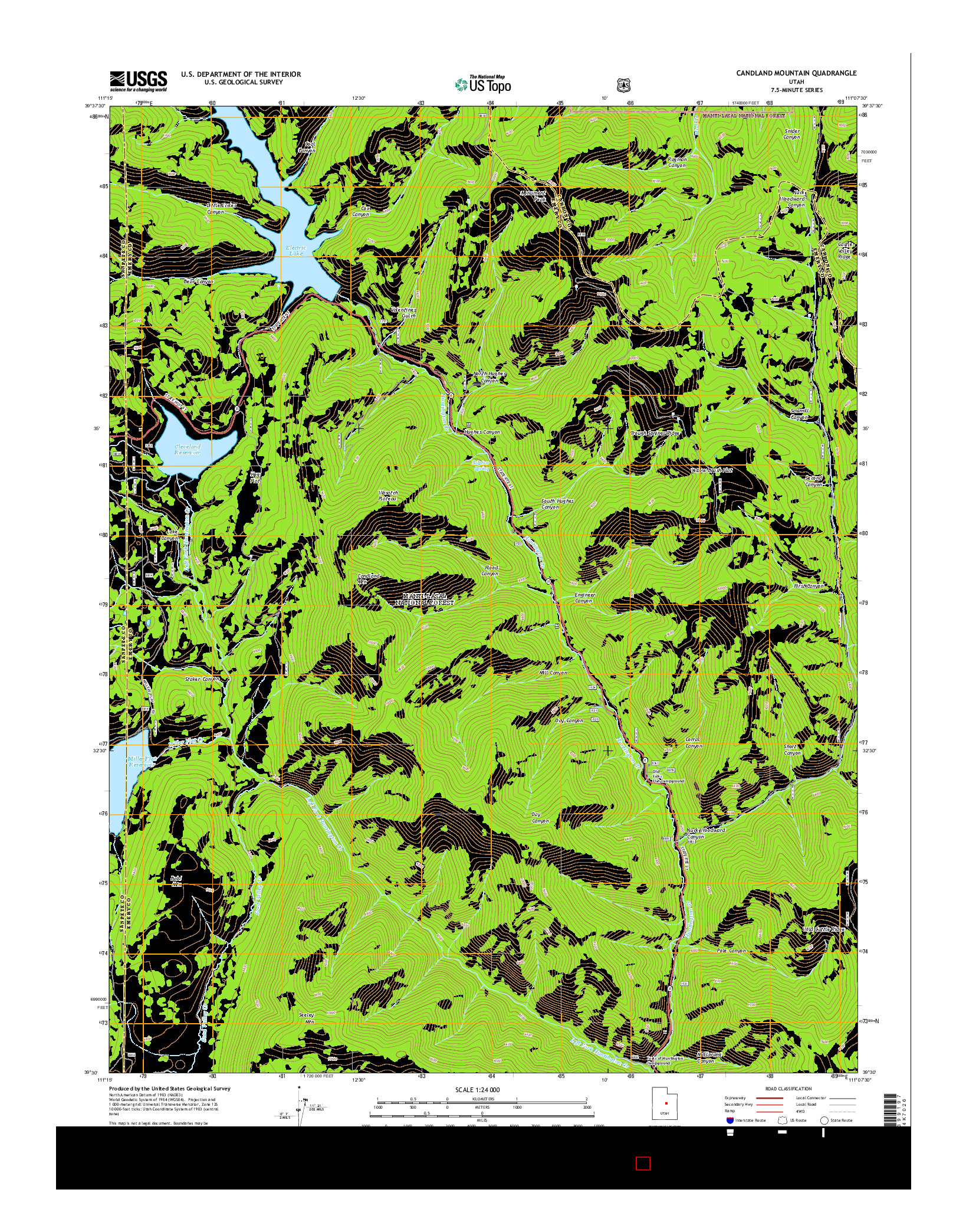 USGS US TOPO 7.5-MINUTE MAP FOR CANDLAND MOUNTAIN, UT 2014