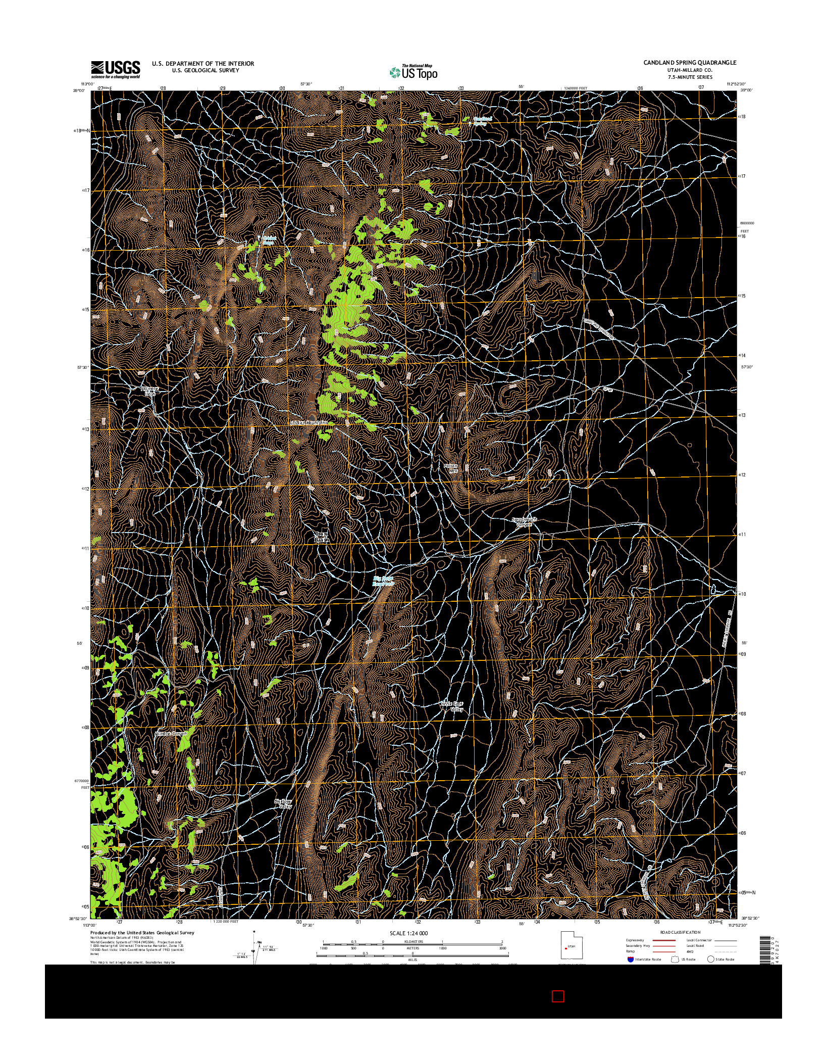 USGS US TOPO 7.5-MINUTE MAP FOR CANDLAND SPRING, UT 2014