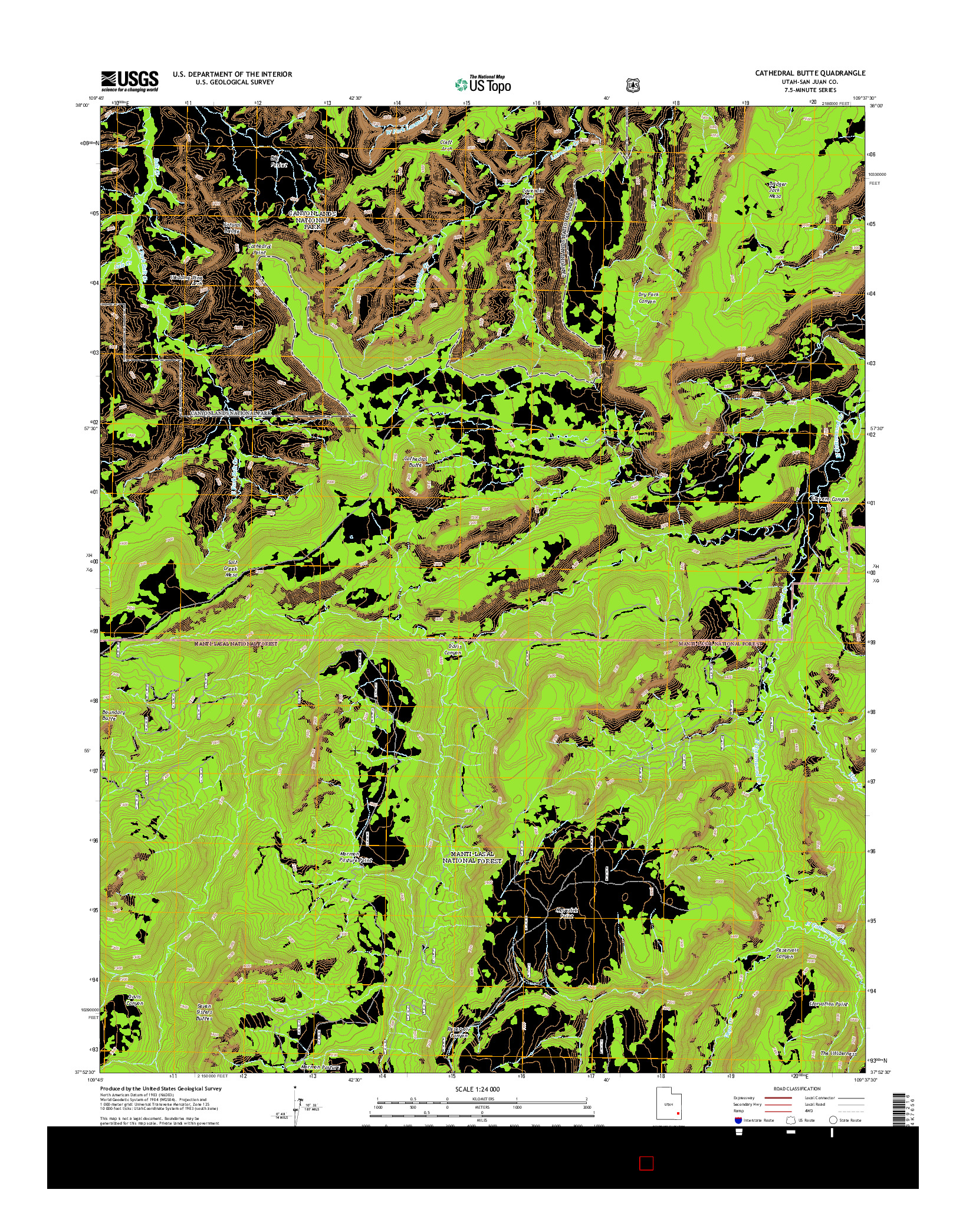 USGS US TOPO 7.5-MINUTE MAP FOR CATHEDRAL BUTTE, UT 2014