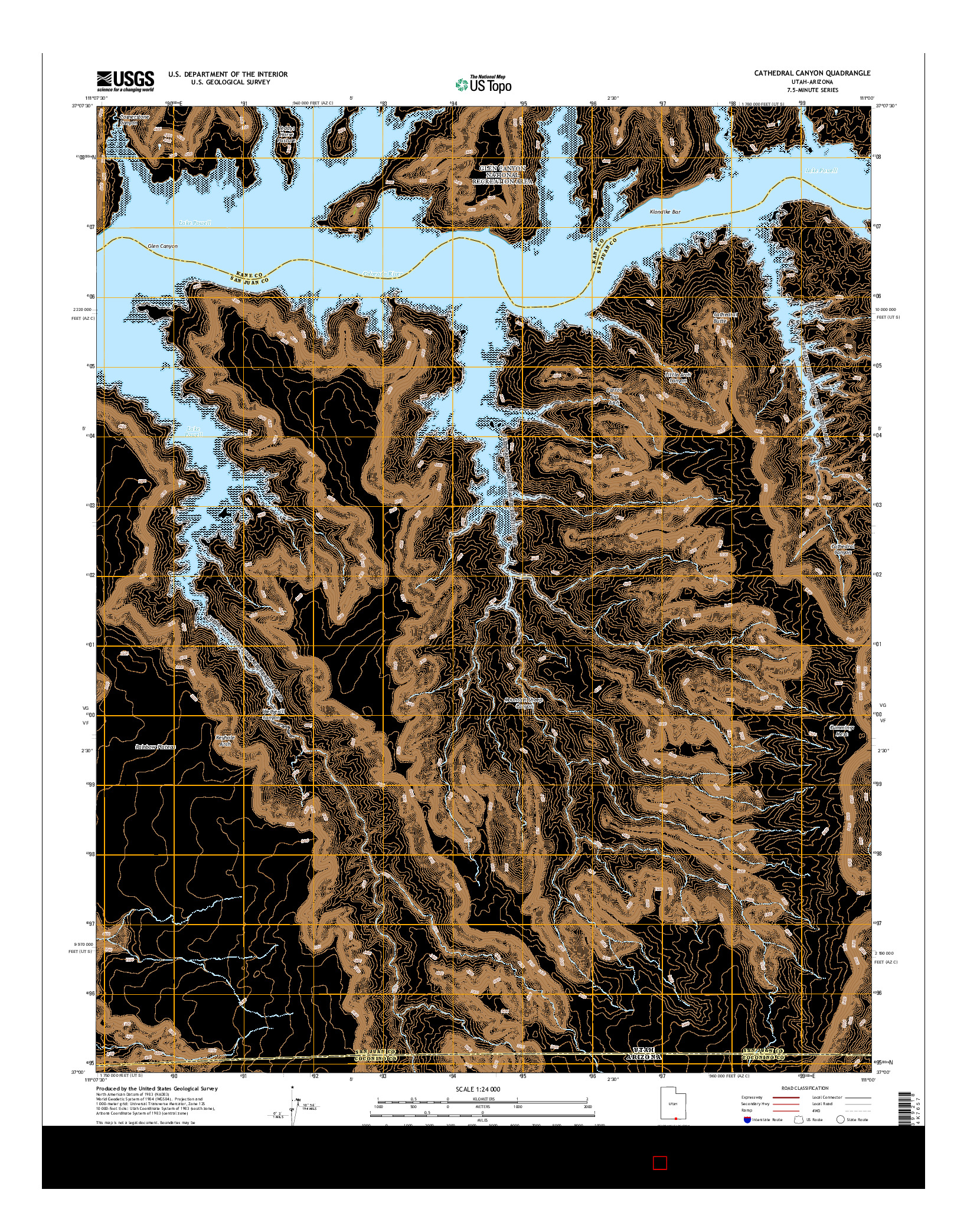 USGS US TOPO 7.5-MINUTE MAP FOR CATHEDRAL CANYON, UT-AZ 2014