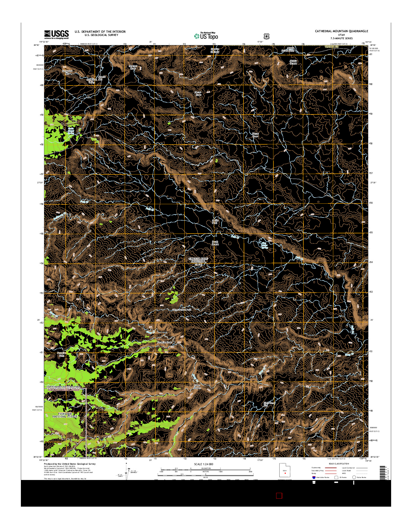 USGS US TOPO 7.5-MINUTE MAP FOR CATHEDRAL MOUNTAIN, UT 2014