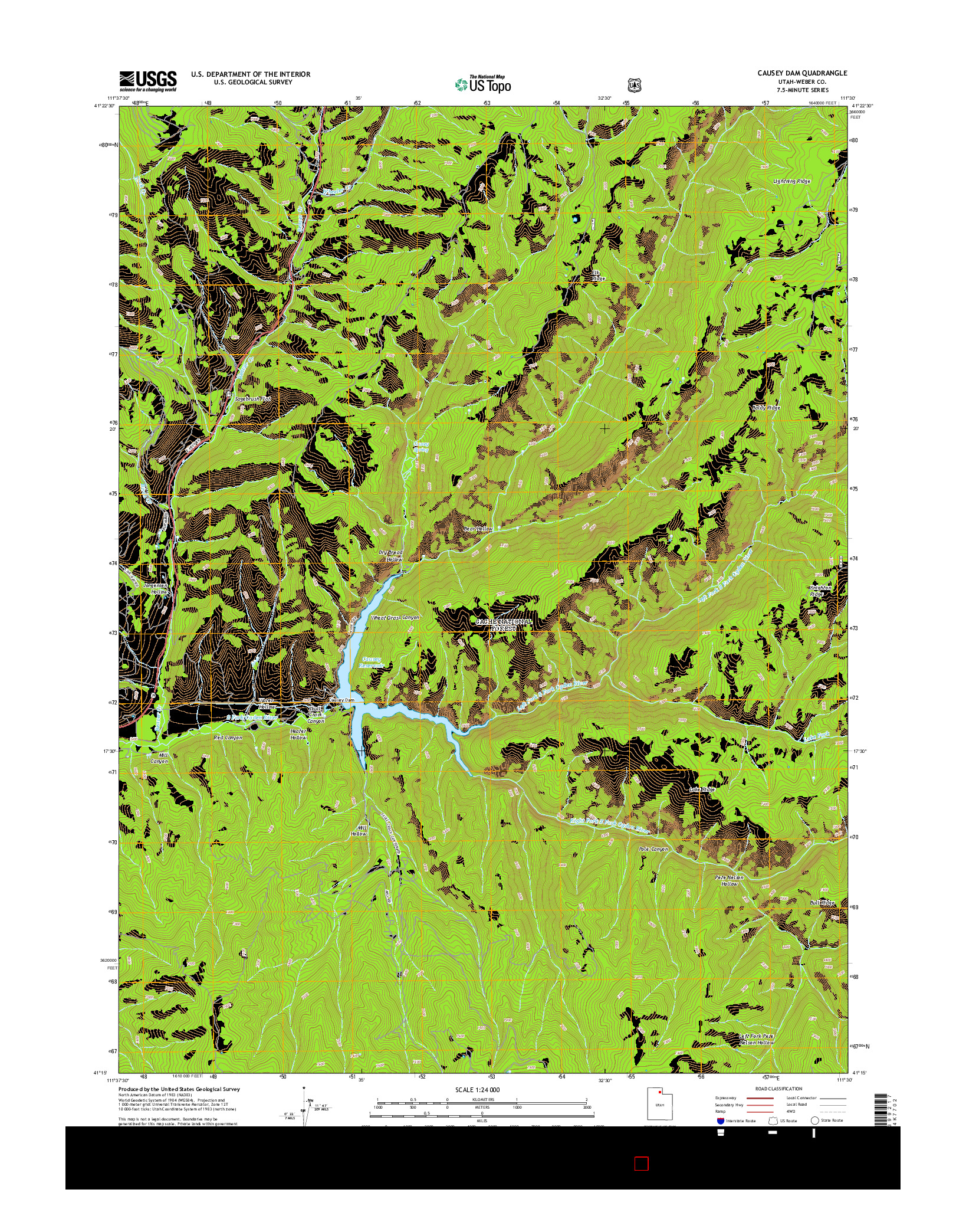 USGS US TOPO 7.5-MINUTE MAP FOR CAUSEY DAM, UT 2014