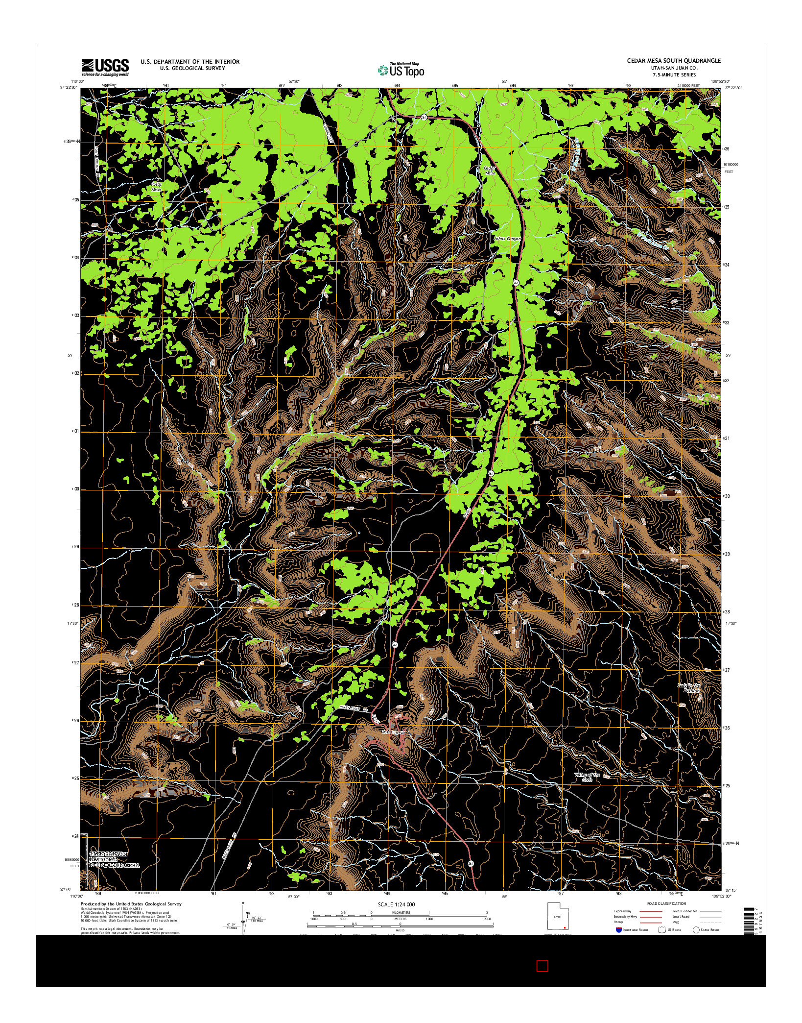 USGS US TOPO 7.5-MINUTE MAP FOR CEDAR MESA SOUTH, UT 2014